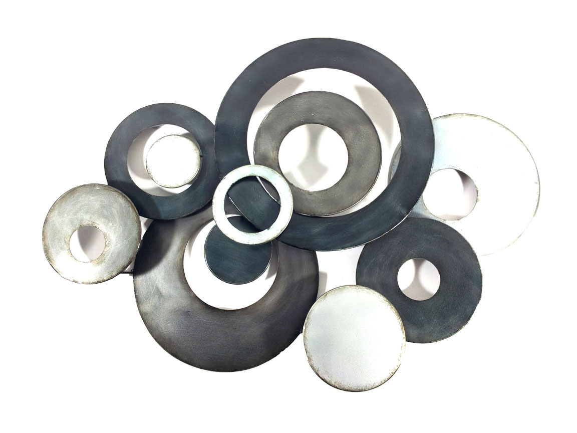 Most Current Metal Wall Art – Charcoal Linked Circle Disc Abstract For Belle Circular Scroll Wall Decor (View 14 of 20)