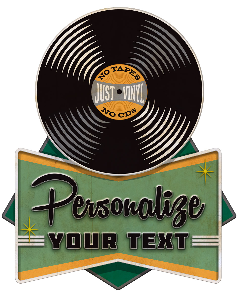Most Current Personalized Record Shop Cut Out Decal Distressed At Retro Planet Pertaining To Personalized Distressed Vintage Look Kitchen Metal Sign Wall Decor (View 12 of 20)