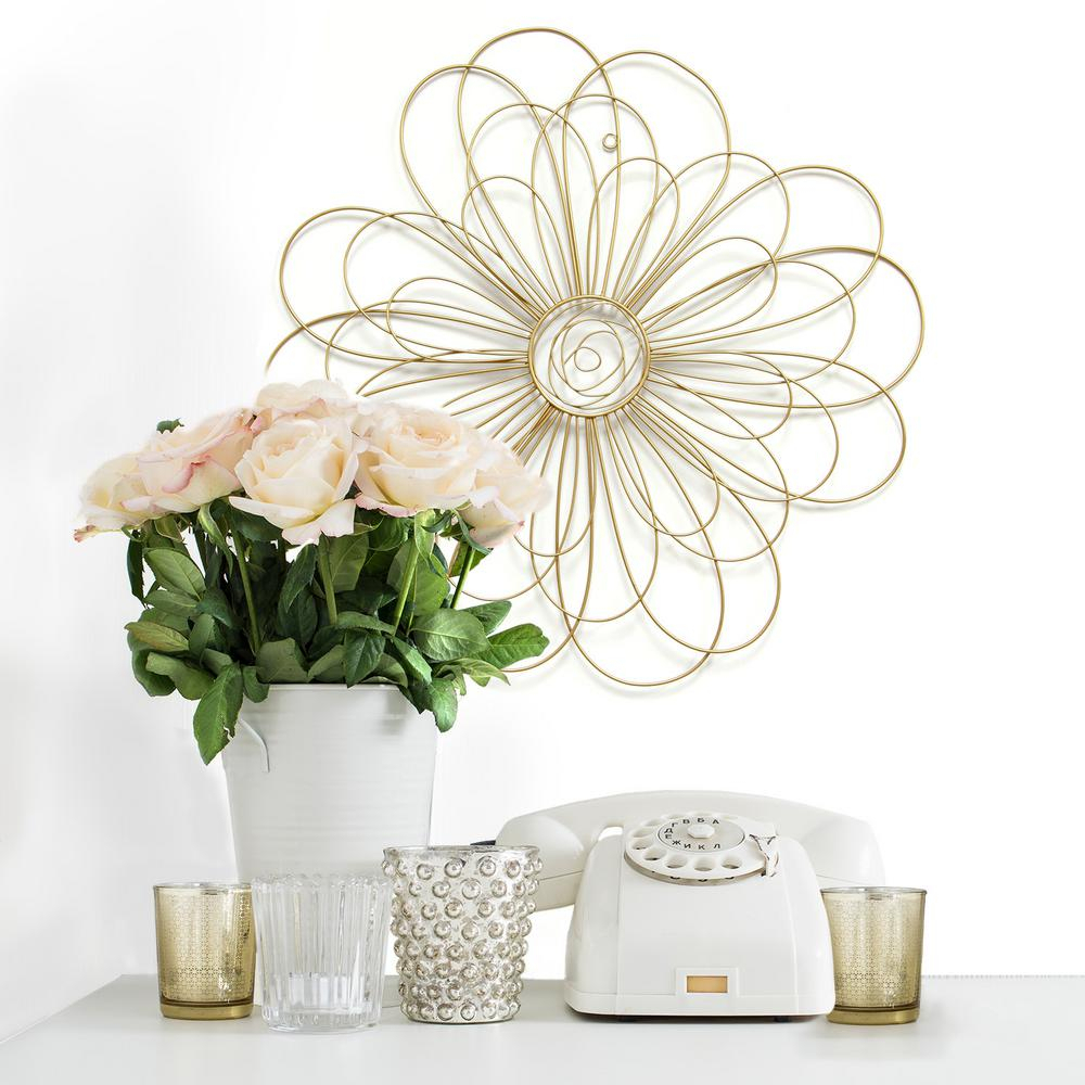 Most Current Stratton Home Decor Gold Metal Wire Flower Wall Decor S07729 – The Inside Flower Wall Decor (View 9 of 20)