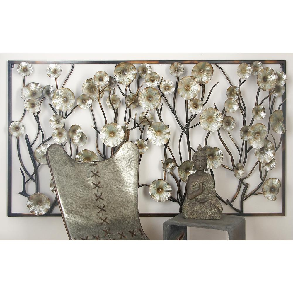 Most Current Three Flowers On Vine Wall Decor Within Litton Lane Iron Rustic Gray Flower And Vine Wall Decor 67054 – The (View 2 of 20)