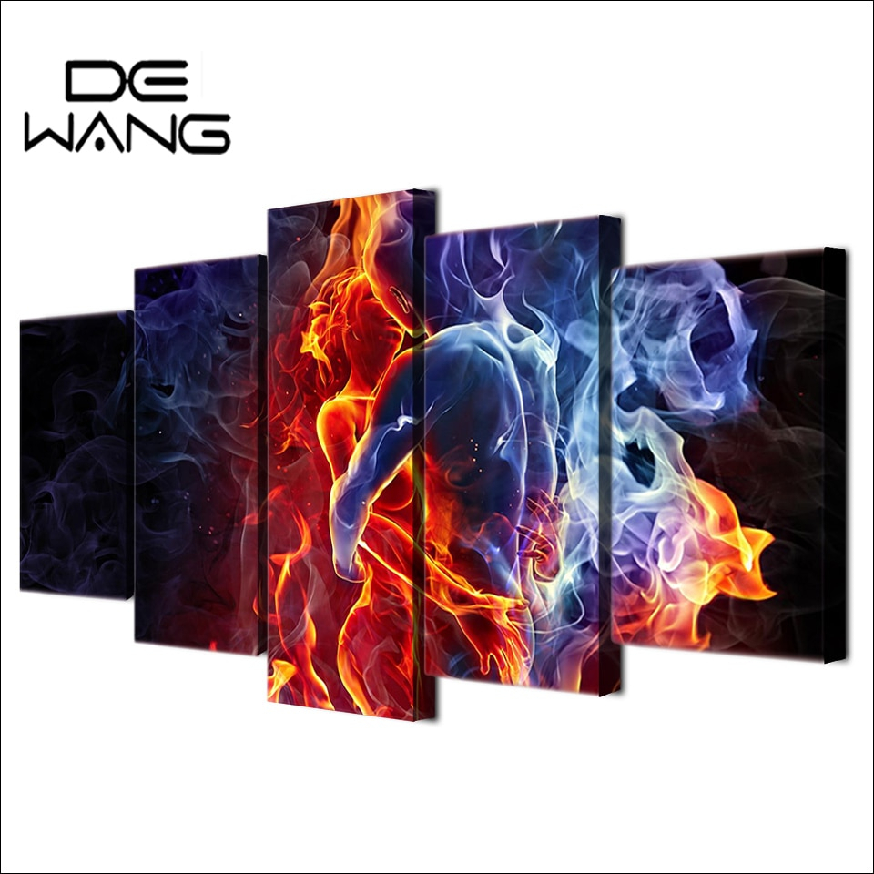 Most Popular 5 Panel Painting Hd Printed Flame Figures Human Hug Pictures With Regard To Abstract Bar And Panel Wall Decor (View 12 of 20)