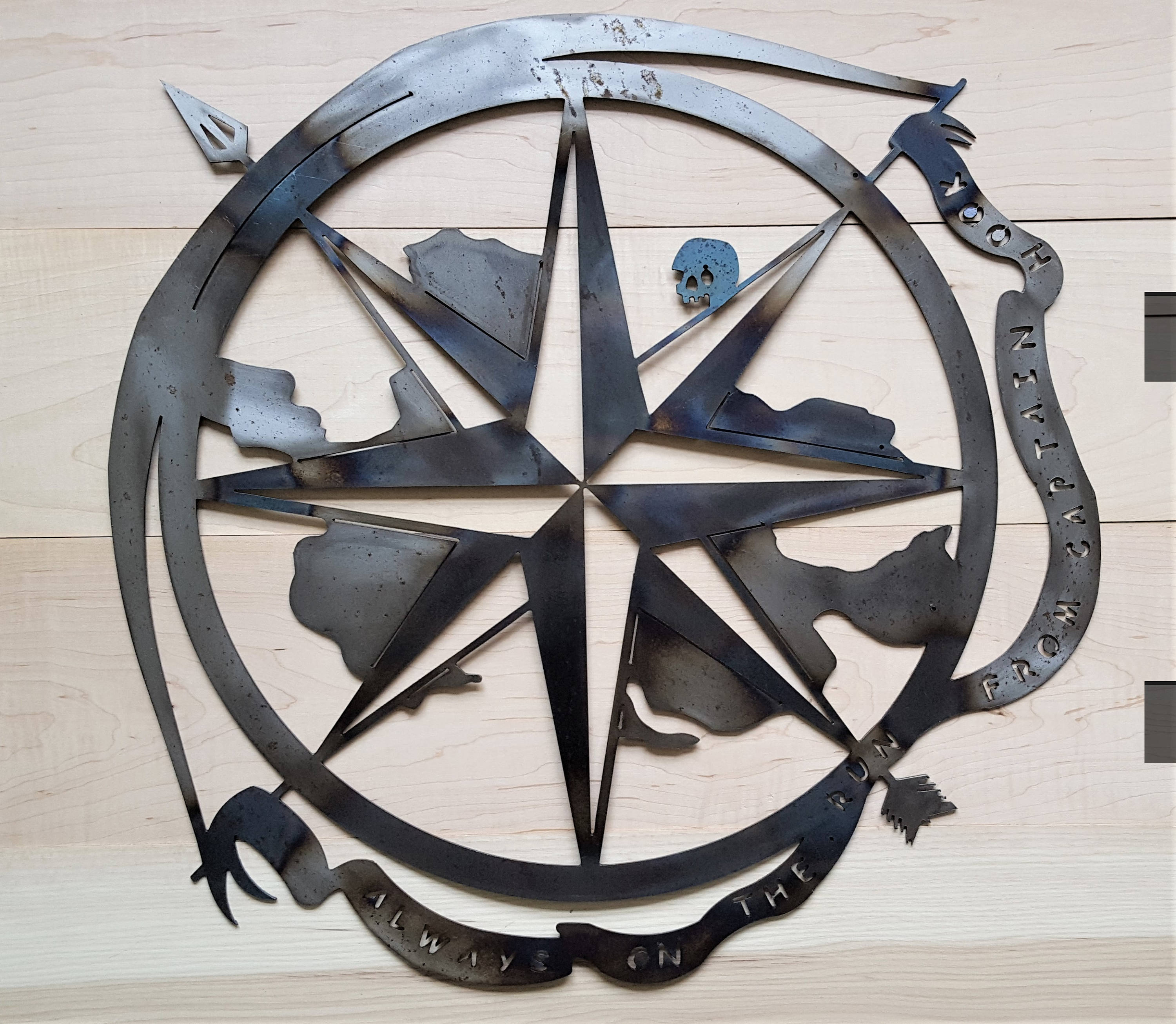 Most Popular Outdoor Metal Wall Compass Intended For Neverland Map Peter Pan Lost Boy Disney Metal Compass (View 9 of 20)