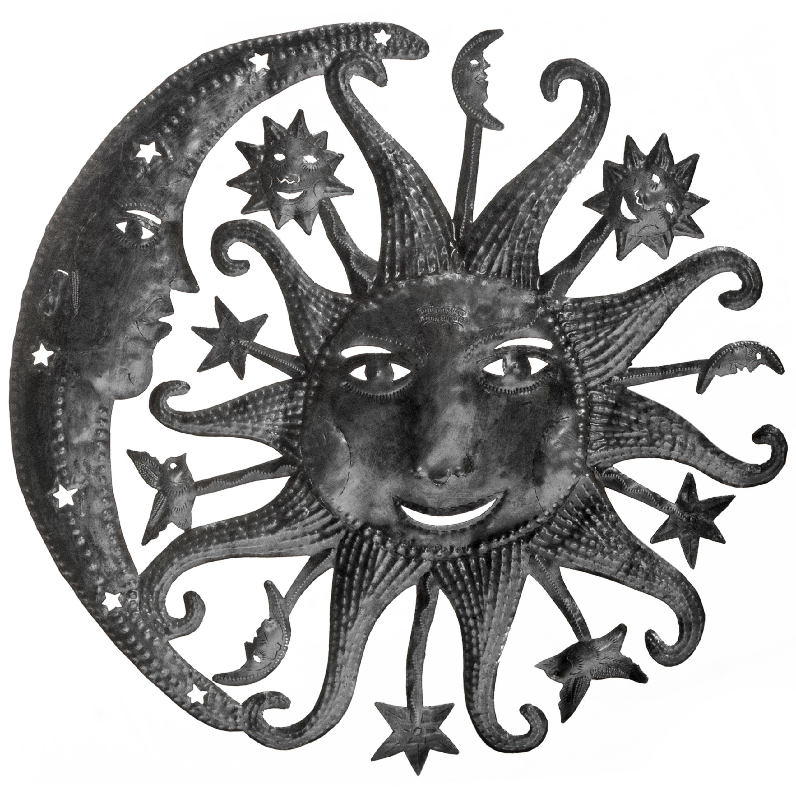 Most Popular Recycled Moon And Sun Wall Decor Intended For Bloomsbury Market Large Heavenly Sun And Moon Wall Décor (View 12 of 20)