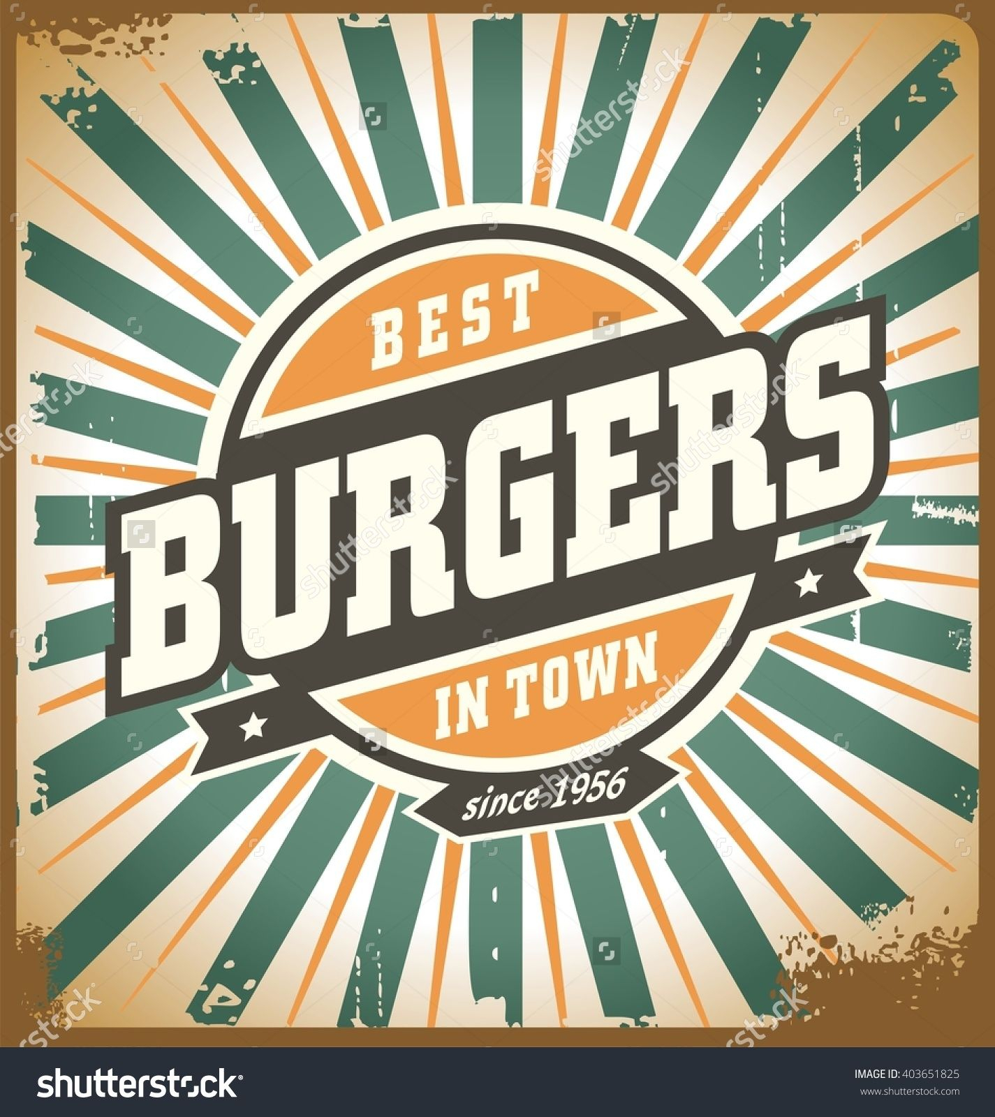 Most Popular Retro Style Burger Sign, Vintage Poster Template, Fast Food With Regard To Casual Country Eat Here Retro Wall Decor (View 8 of 20)