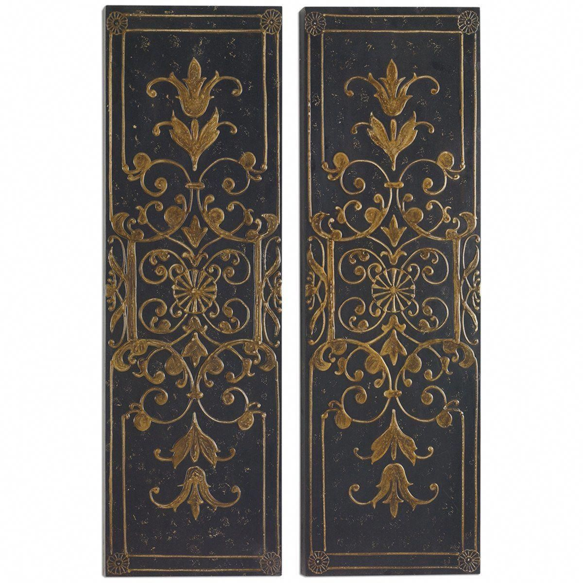 Most Recent 2 Piece Panel Wood Wall Decor Sets (Set Of 2) Throughout Uttermost Set Of 2 Melani Panels #tuscandecor (View 12 of 20)
