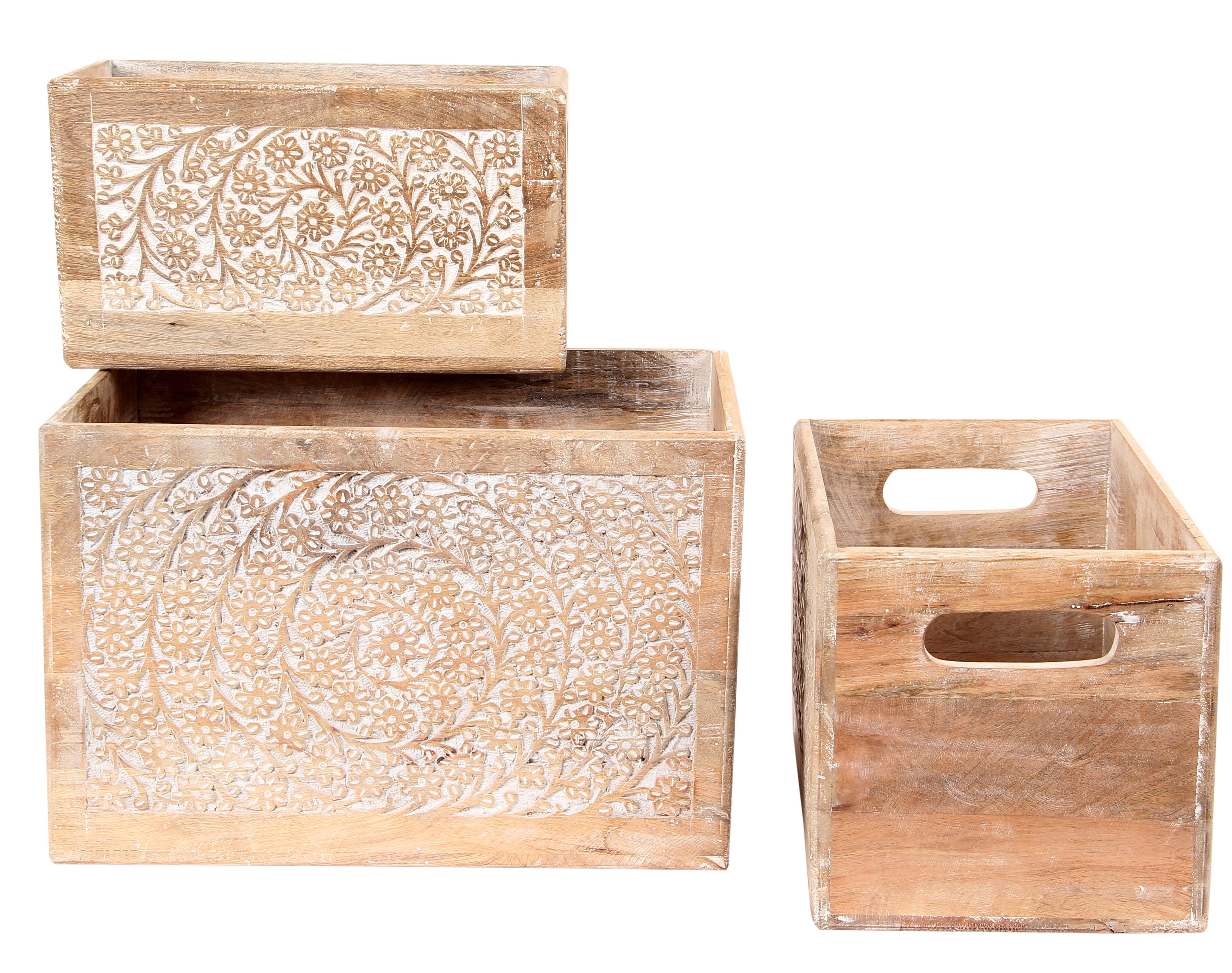 Most Recent 4 Piece Handwoven Wheel Wall Decor Sets With Regard To Bungalow Rose Distressed Solid Wood 3 Piece Decorative Crate Set (View 16 of 20)