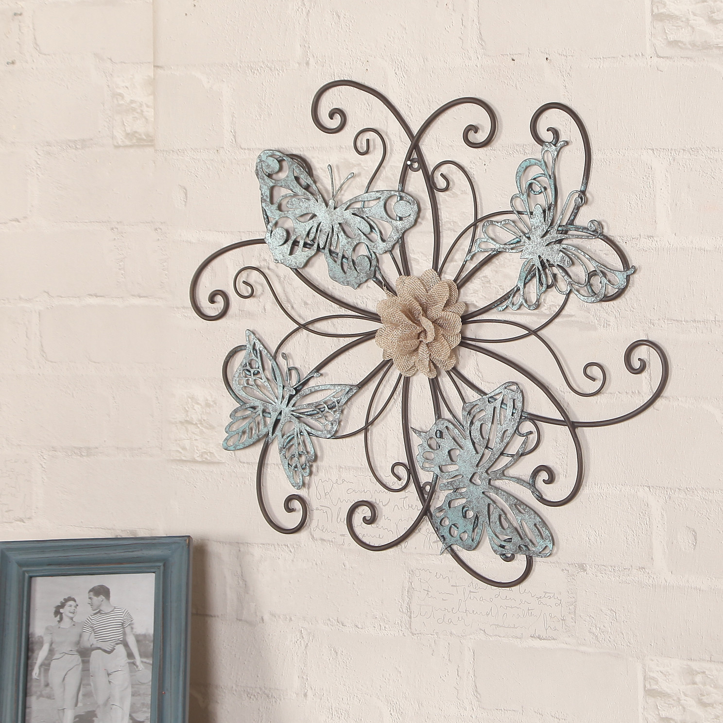 Most Recent Adeco Trading Flower And Butterfly Urban Design Metal Wall Décor (View 7 of 20)