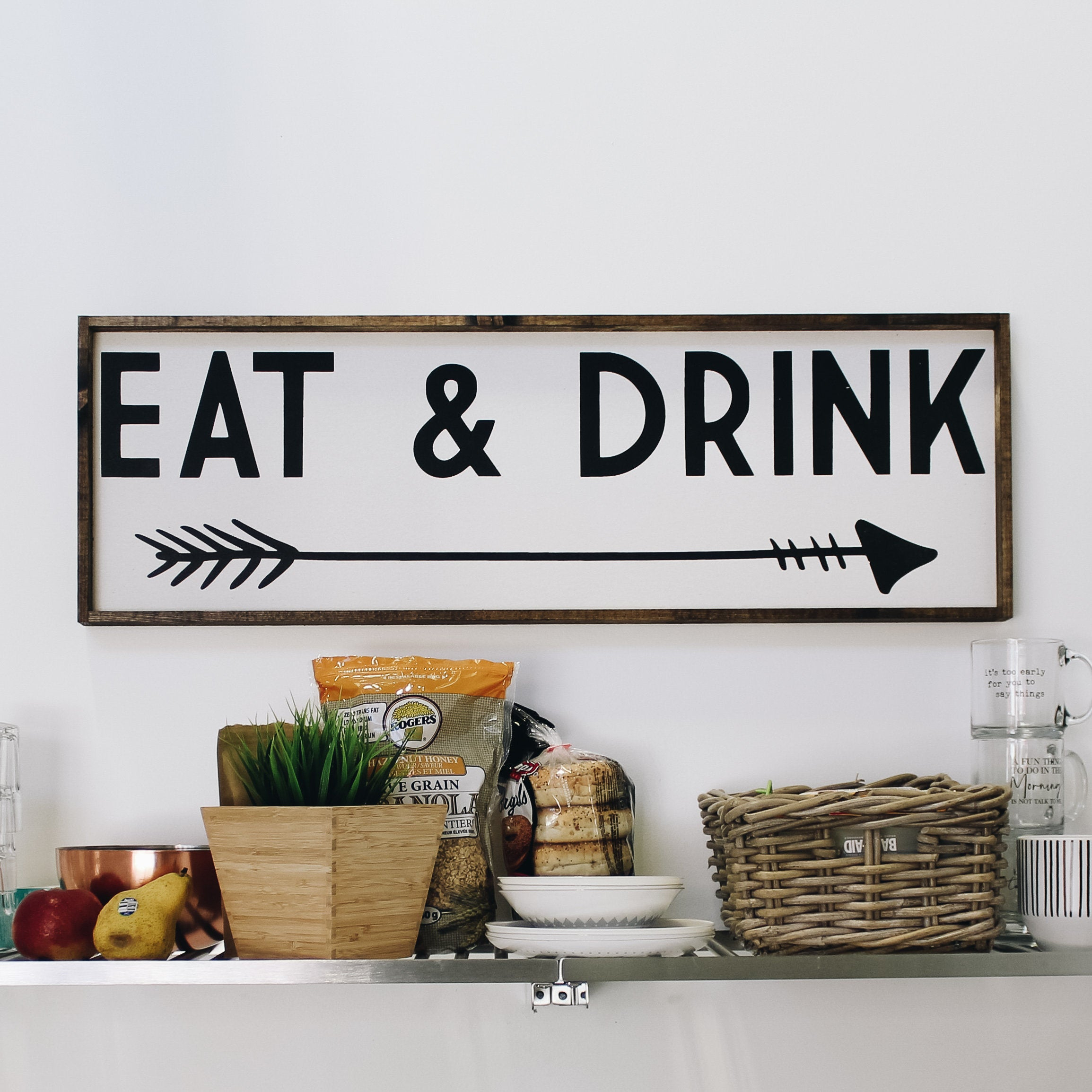 Most Recent Eat Rustic Farmhouse Wood Wall Decor Regarding Eat & Drink Wood Sign Farmhouse Style Framed Wood Wall Art (View 11 of 20)