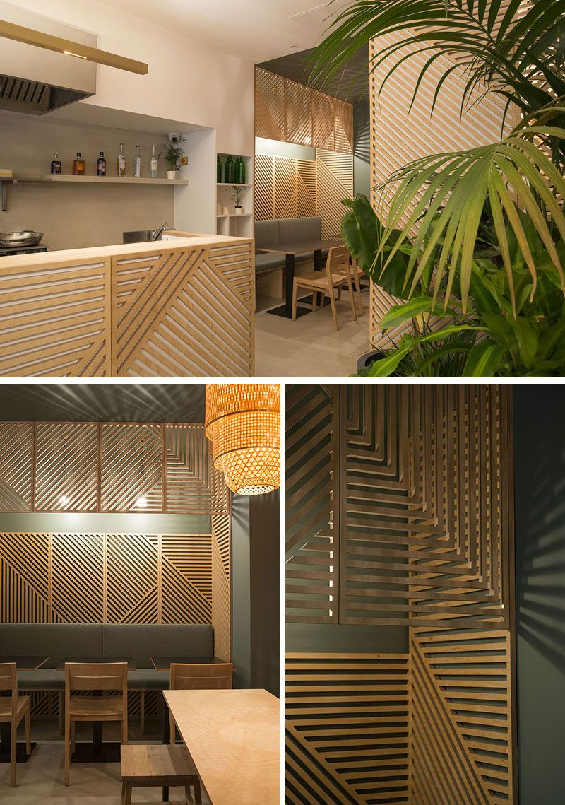 Most Recent Wall Decor Idea – This Restaurant Covered Its Walls With Wood Panels With Regard To Abstract Bar And Panel Wall Decor (View 11 of 20)