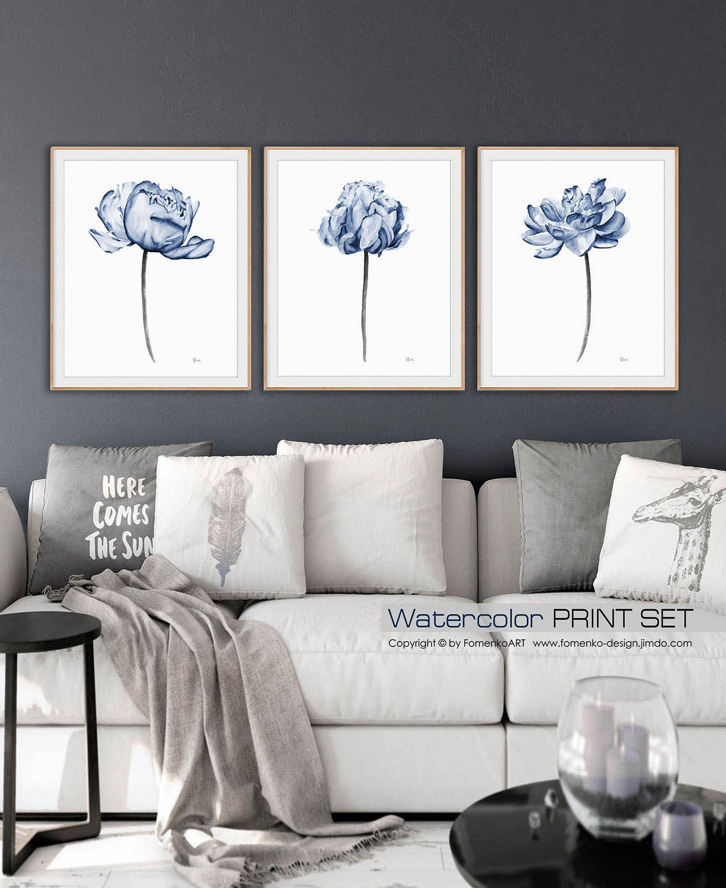 Most Recently Released 2 Piece Heart Shaped Fan Wall Decor Sets With Regard To Watercolor Painting Rustic Wall Decor Kitchen Wall Decor Living Room (View 12 of 20)