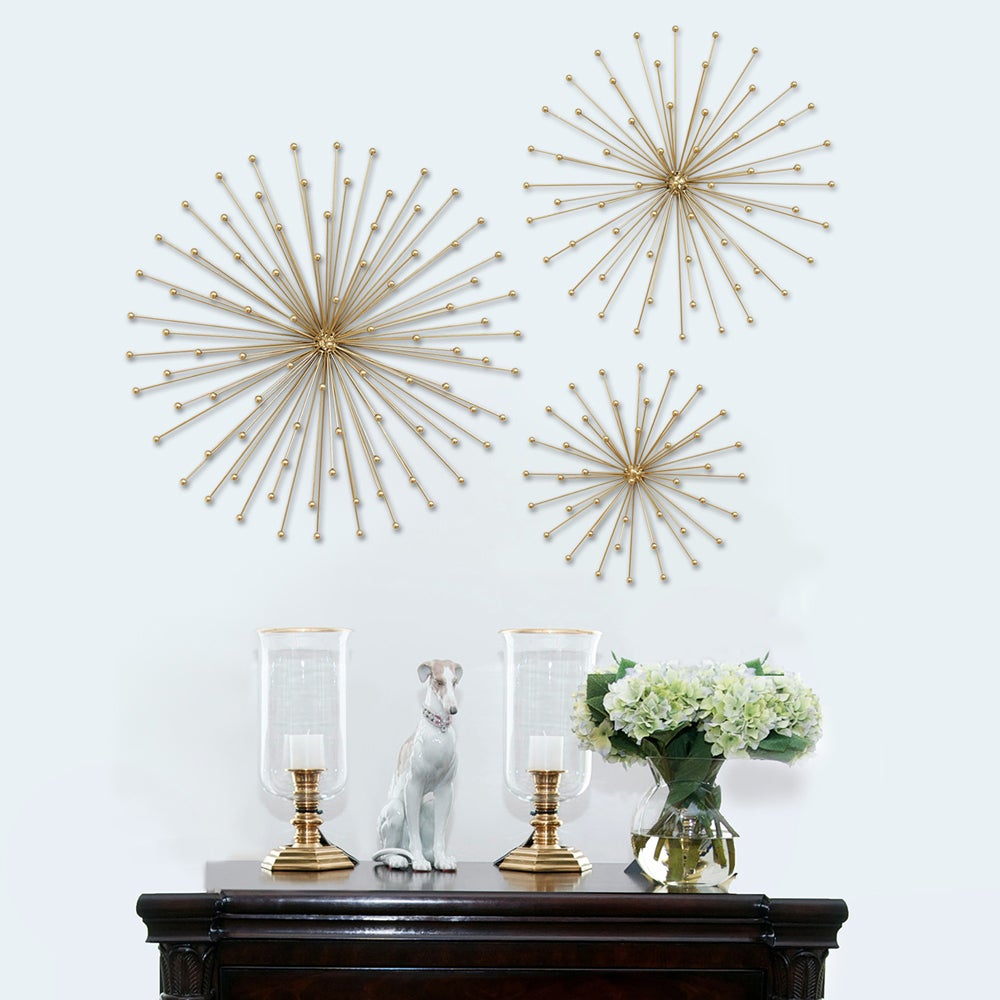 Most Recently Released 3 Piece Acrylic Burst Wall Decor Sets (set Of 3) Pertaining To Shop Carson Carrington Gold Metal Burst 3 Piece Wall Decor – Free (View 5 of 20)