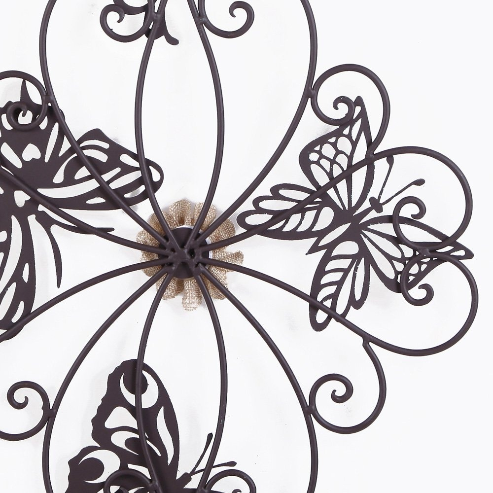 Most Recently Released Flower And Butterfly Urban Design Metal Wall Decor In Adeco Flower And Butterfly Urban Design Metal Wall Decor Fo (View 11 of 20)