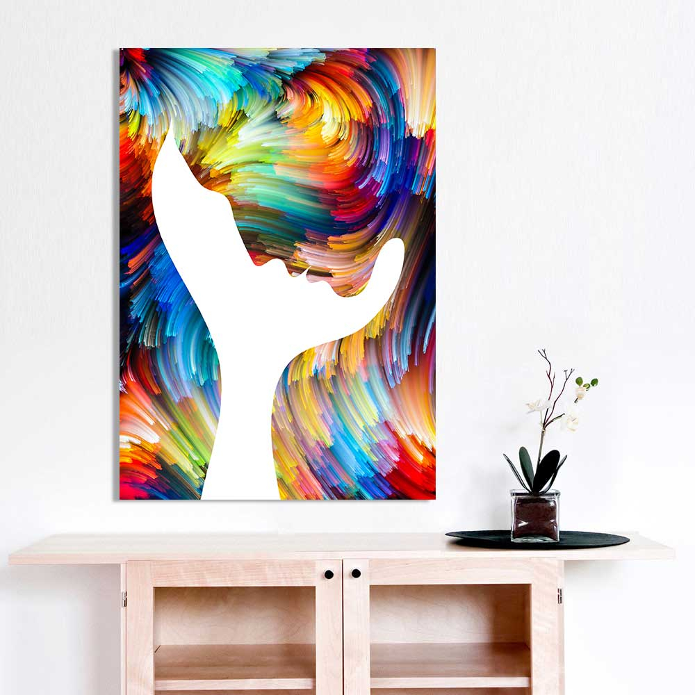 Most Recently Released Modern Canvas Painting Wall Art Picture Abstract Figure Profile Inside Abstract Bar And Panel Wall Decor (View 14 of 20)