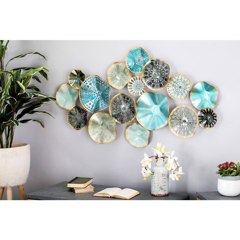 Most Recently Released Multi Plates Wall Decor Pertaining To Iron Multi Colored Floral Disc Montage Metal Work In (View 16 of 20)