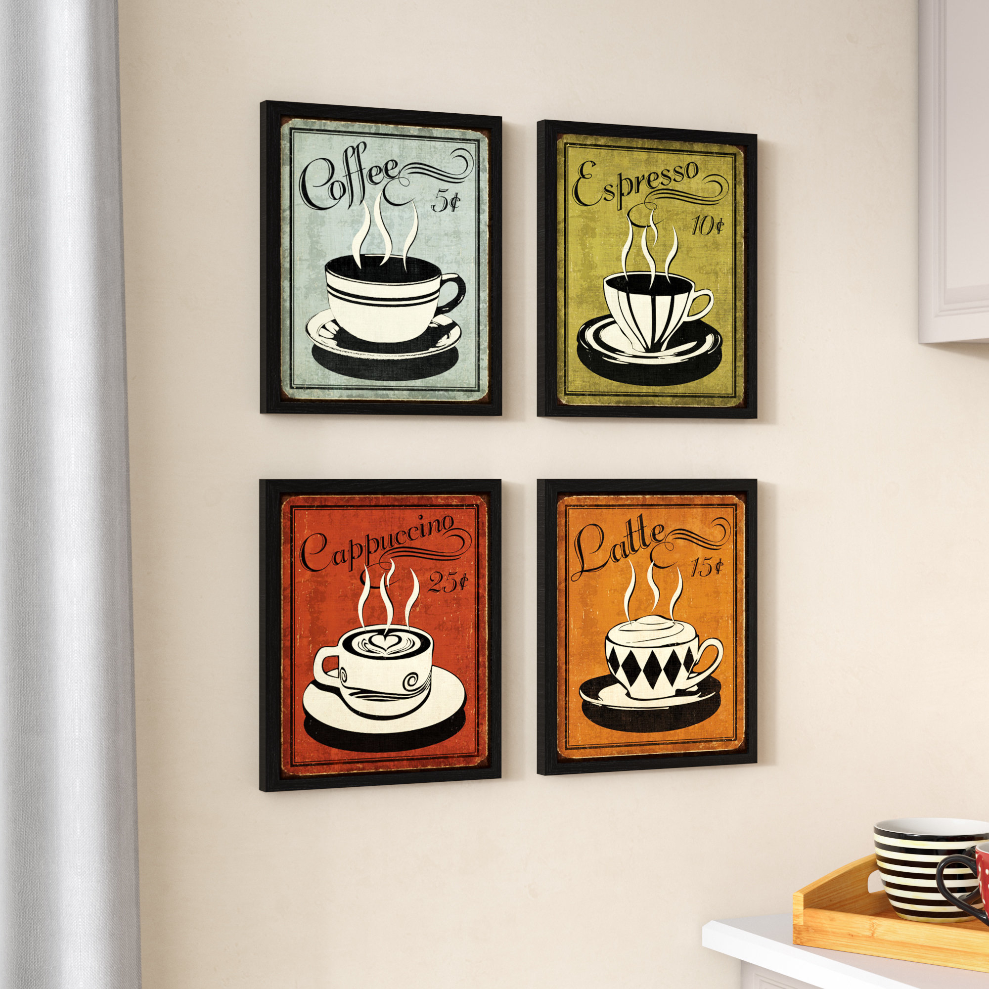 Most Recently Released Red Barrel Studio 'classic And Colorful Retro Coffee' Framed Graphic Within Decorative Three Stacked Coffee Tea Cups Iron Widget Wall Decor (View 13 of 20)