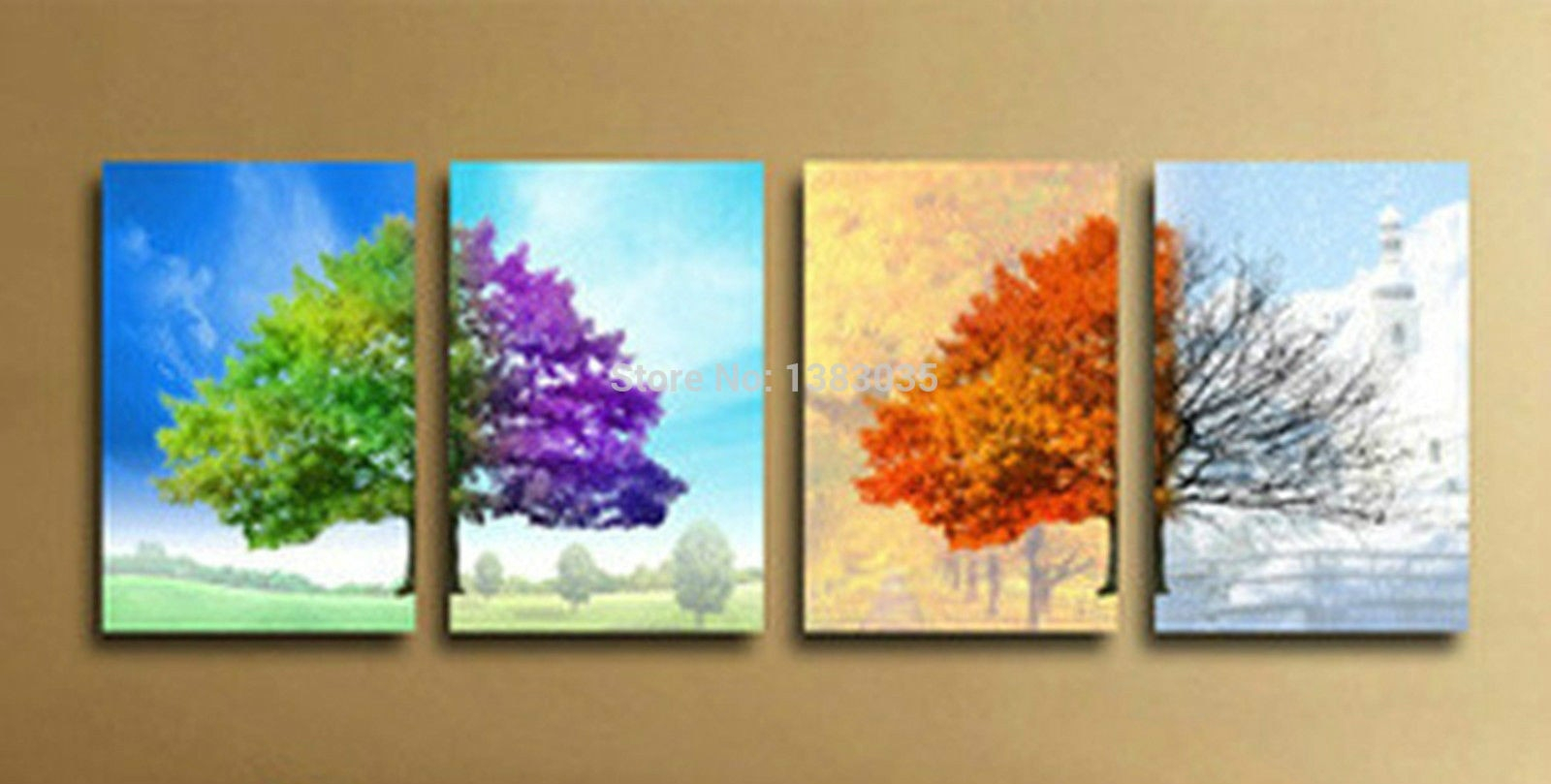 Most Up To Date 4 Piece Wall Decor Sets In Hand Painted Modern 4 Seasons Tree Wall Art Abstract Oil Painting On (View 5 of 20)