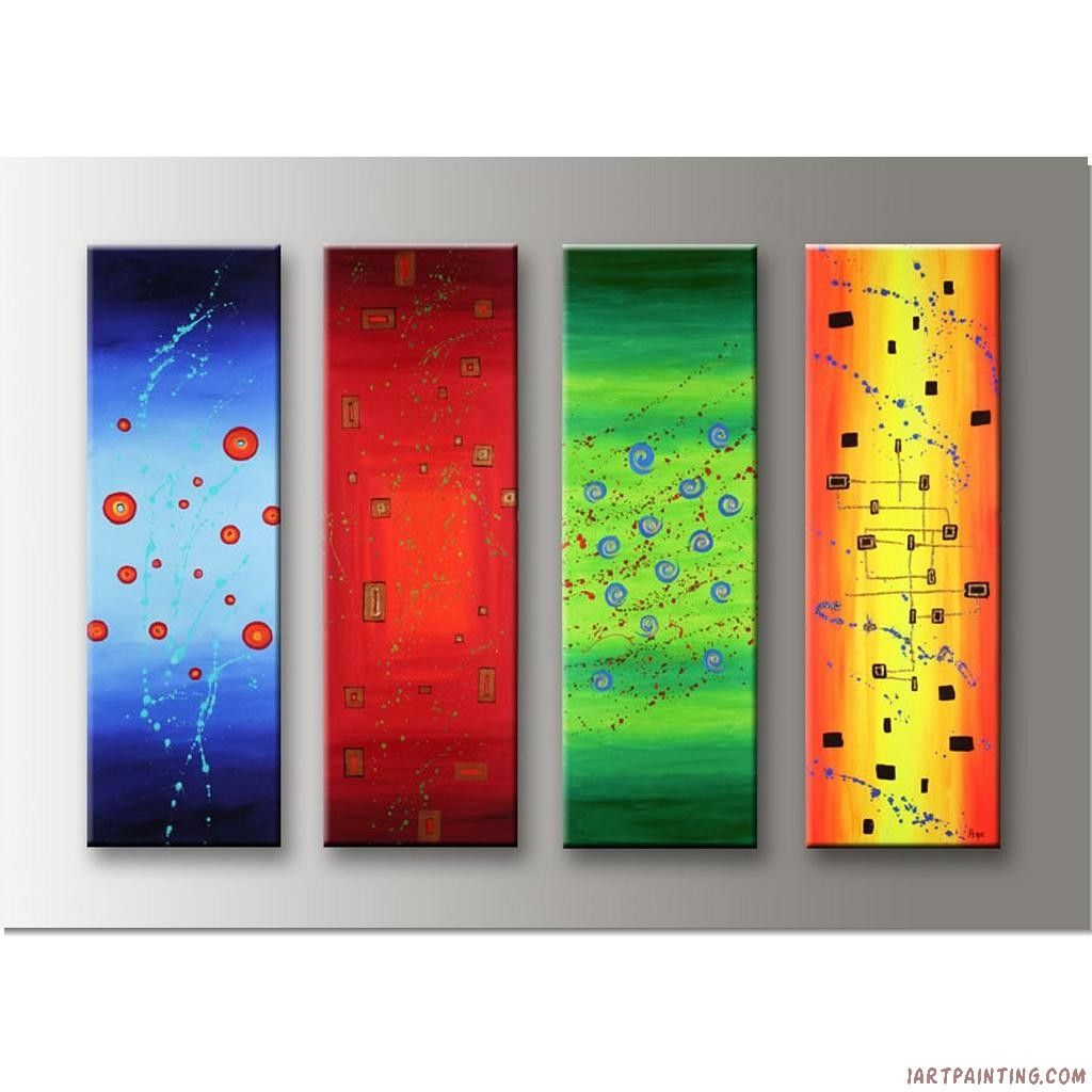 Most Up To Date Acrylic Abstract Painting 4 Pieces Canvas Sets Modern Wall Art 36x48 For 4 Piece Wall Decor Sets (View 13 of 20)