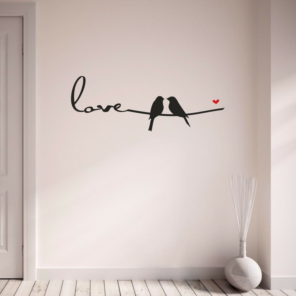 Most Up To Date Birds On A Wire Wall Sticker Love Birds Heart Romantic Vinyl Wall Pertaining To Birds On A Wire Wall Decor (View 20 of 20)