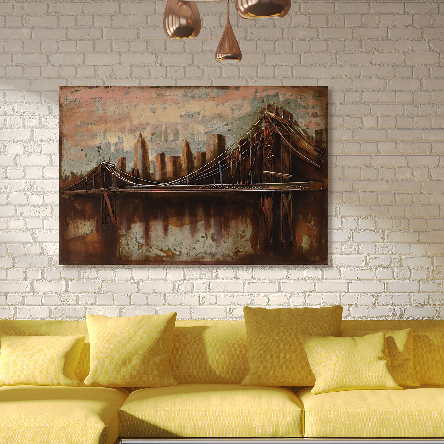 """Most Up To Date """"bridge To The City"""" Mixed Media Iron Hand Painted Dimensional Wall Decor For Empire Art Direct """"bridgescape"""" Mixed Media Iron Hand Painted (View 11 of 20)"""