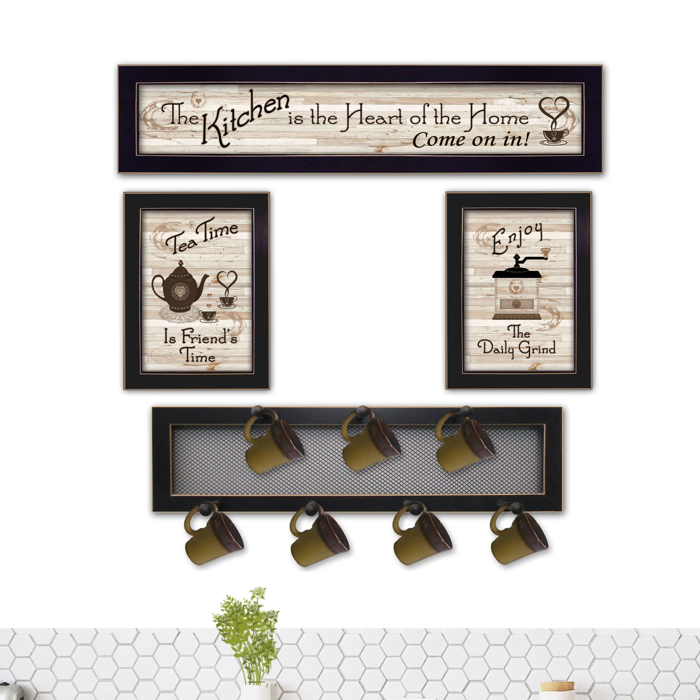 Most Up To Date Decorative Three Stacked Coffee Tea Cups Iron Widget Wall Decor For August Grove 4 Piece Kitchen Wall Décor Set & Reviews (View 14 of 20)