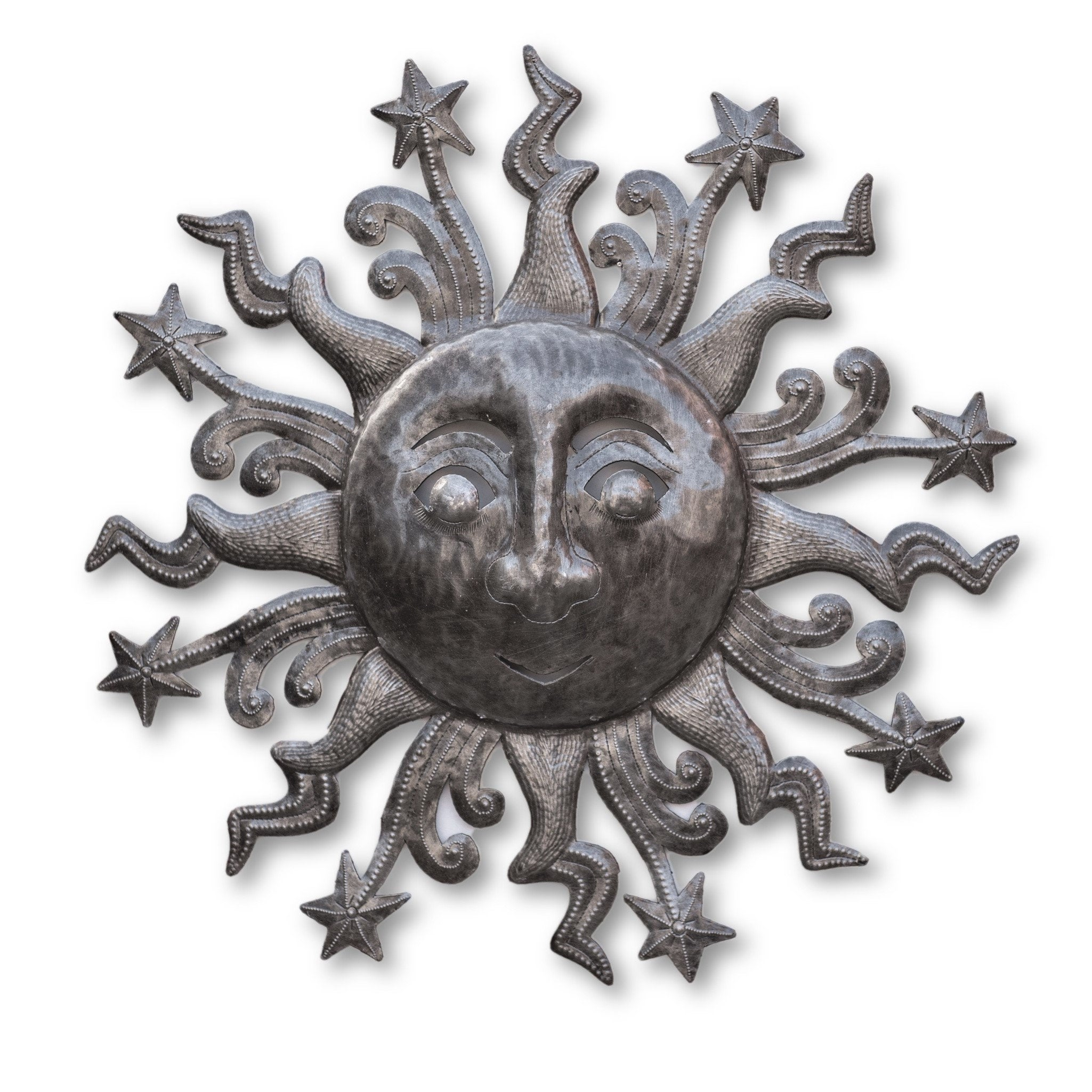 Most Up To Date Recycled Moon And Sun Wall Decor Throughout Sun And Stars Celestial Pair Haitian Wall Art Indoor And (View 13 of 20)