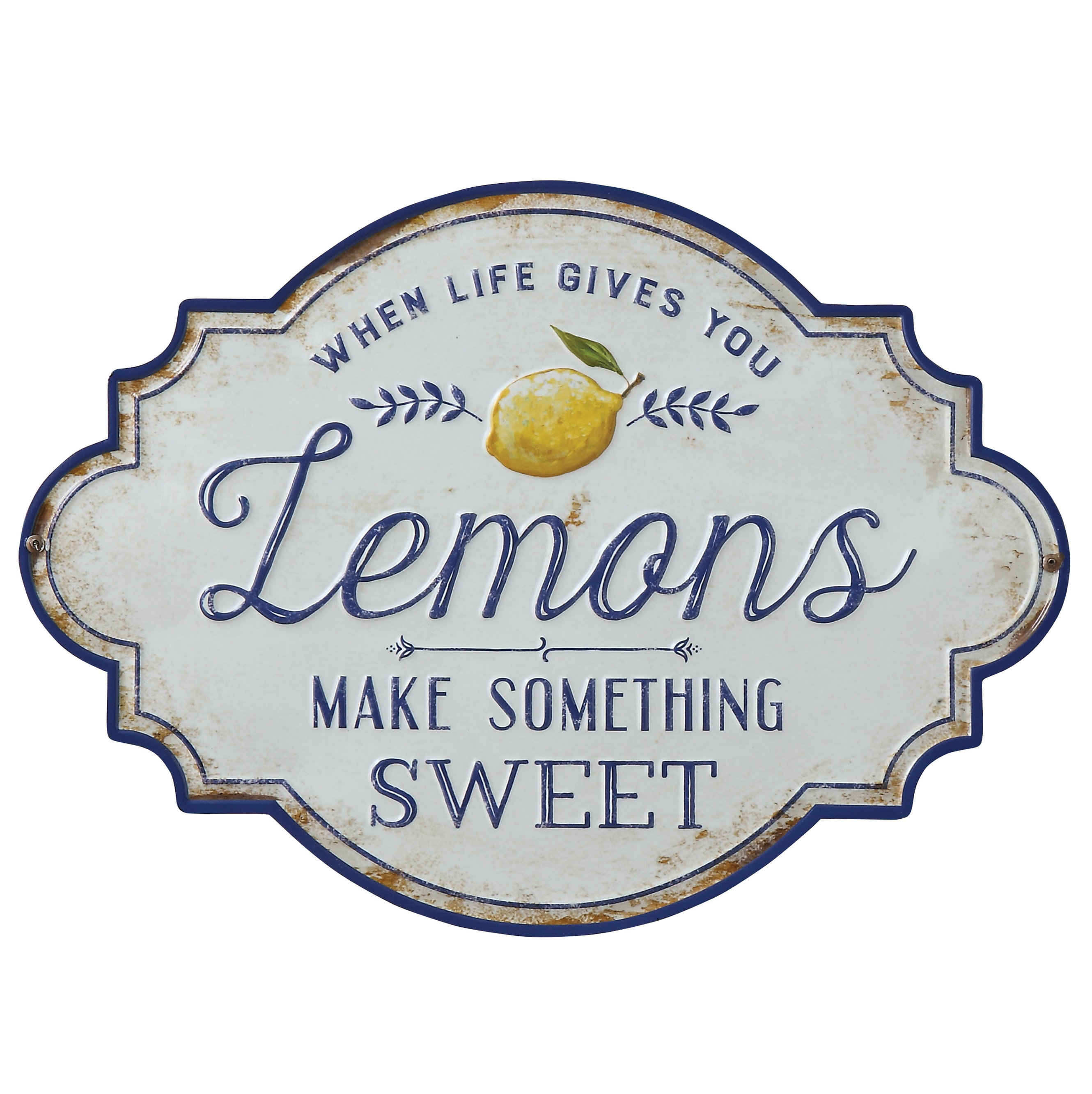 "Most Up To Date When Life Gives You Lemons Make Something Sweet"" Metal Wall Décor Pertaining To Personalized Distressed Vintage Look Kitchen Metal Sign Wall Decor (View 8 of 20)"