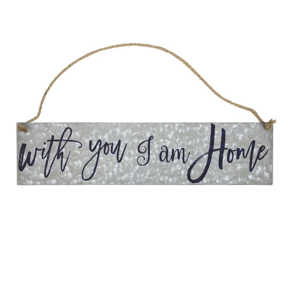 "Most Up To Date With You I Am Home"" Galvanized Metal With Rope Hanger Wall Decor For Metal Rope Wall Sign Wall Decor (View 12 of 20)"