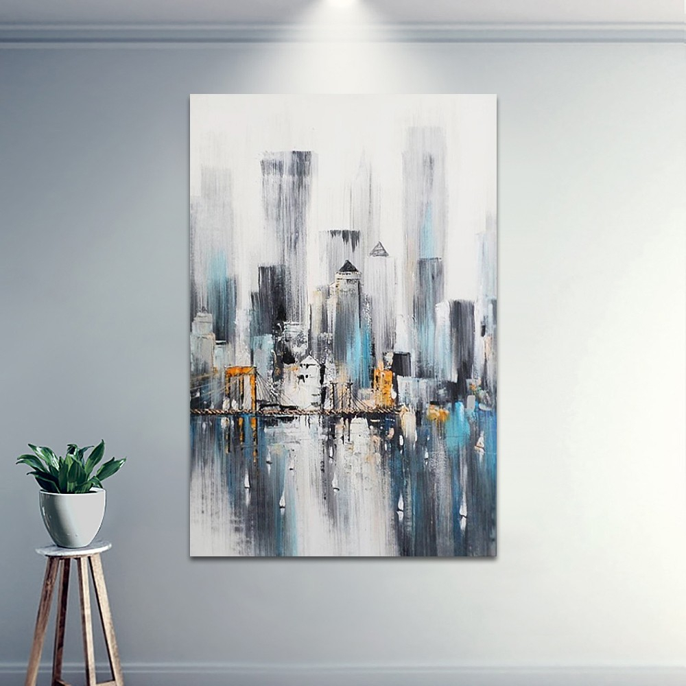New York Nightscape Skyline Abstract Hand Painted Decorative Wall Pertaining To Trendy Abstract Bar And Panel Wall Decor (View 15 of 20)