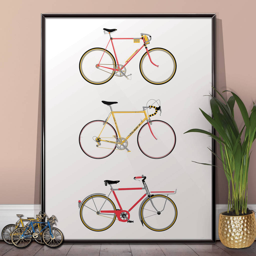 Newest Bike Art Print, Bicycle Poster Wall Art Home Décorwyatt9 Pertaining To Bike Wall Decor (View 11 of 20)