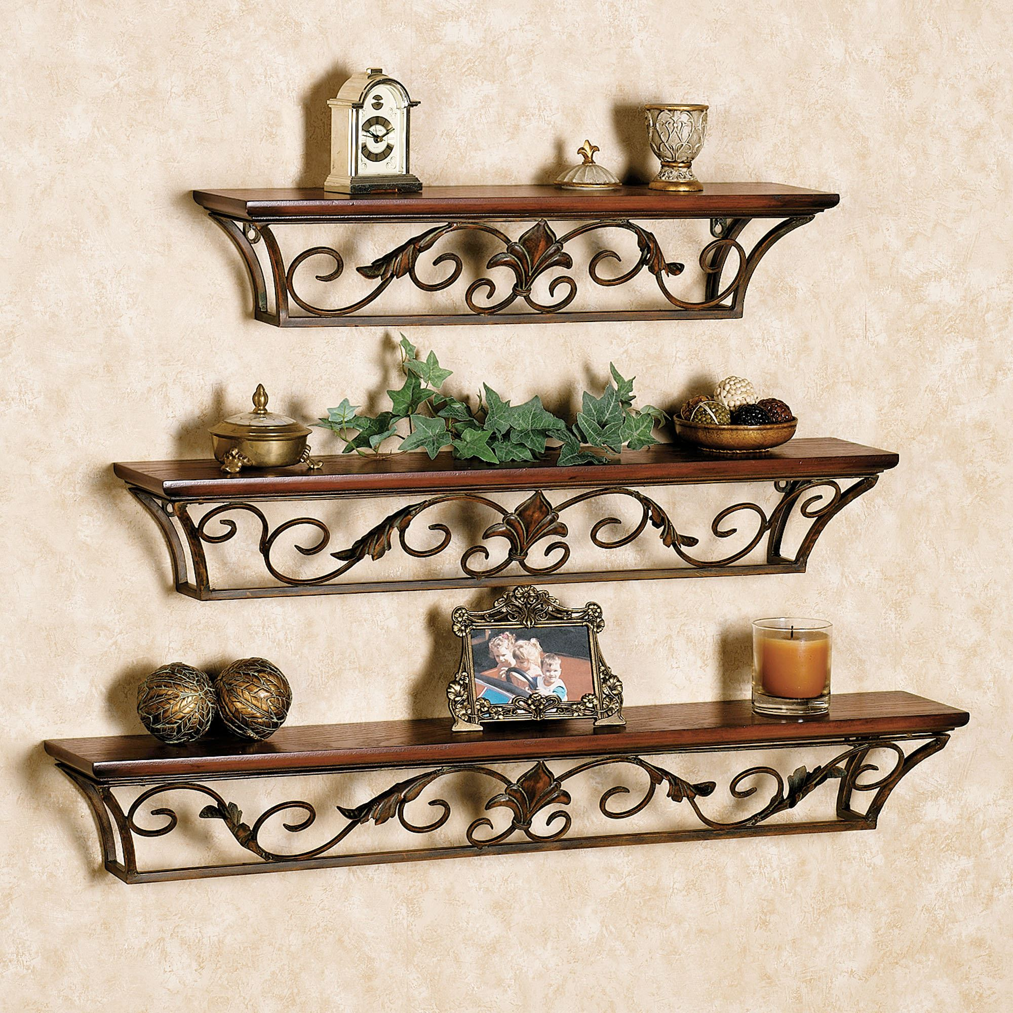 Newest Dagian Wall Shelves With Ornamental Wood And Metal Scroll Wall Decor (View 18 of 20)