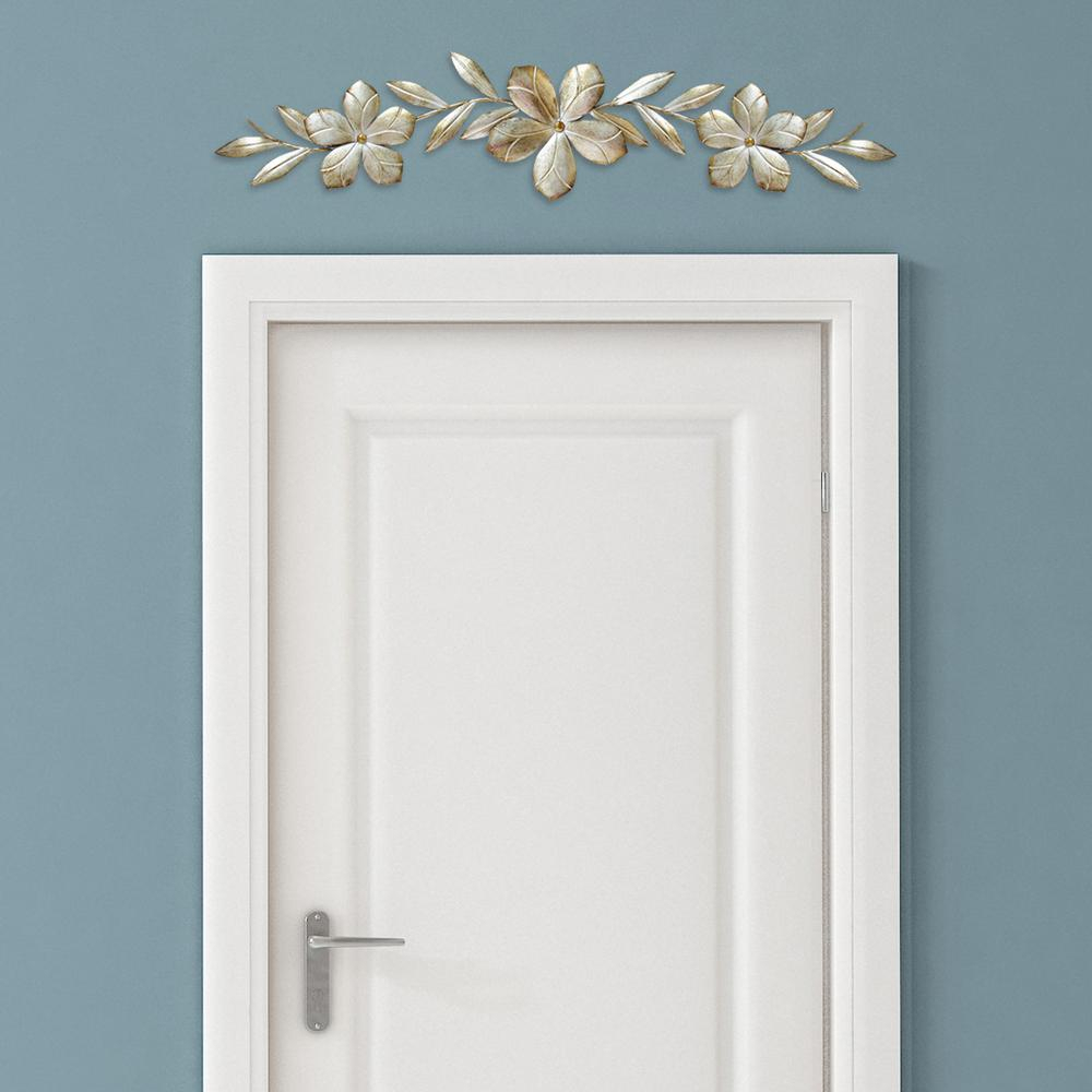 Newest Stratton Home Decor Champagne Metal Flower Over The Door Wall Decor With Brushed Pearl Over The Door Wall Decor (Gallery 4 of 20)