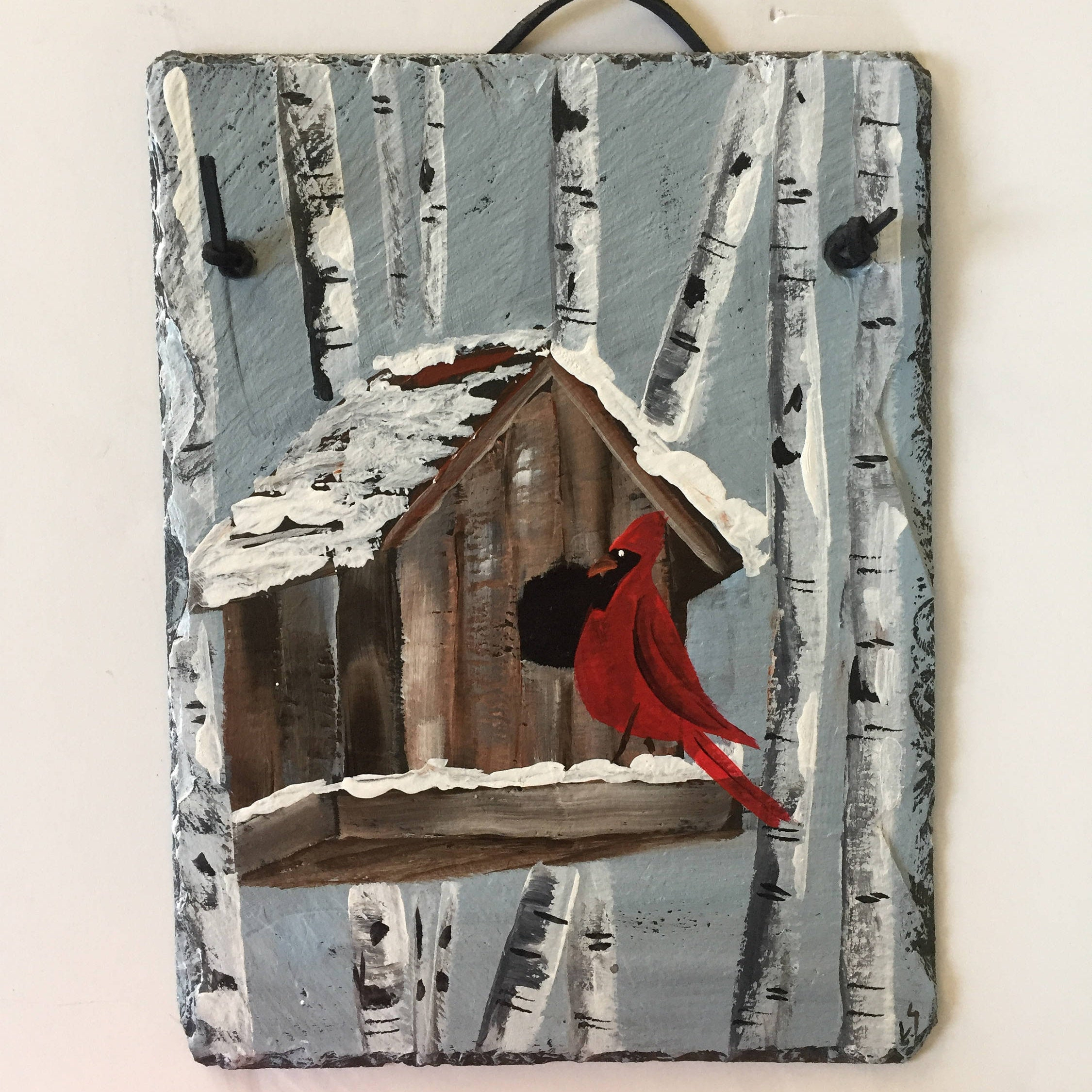 Newest Tree Welcome Sign Wall Decor Intended For Red Cardinal & Birch Trees Slate Door Hanging, Winter Decor, Winter (View 16 of 20)