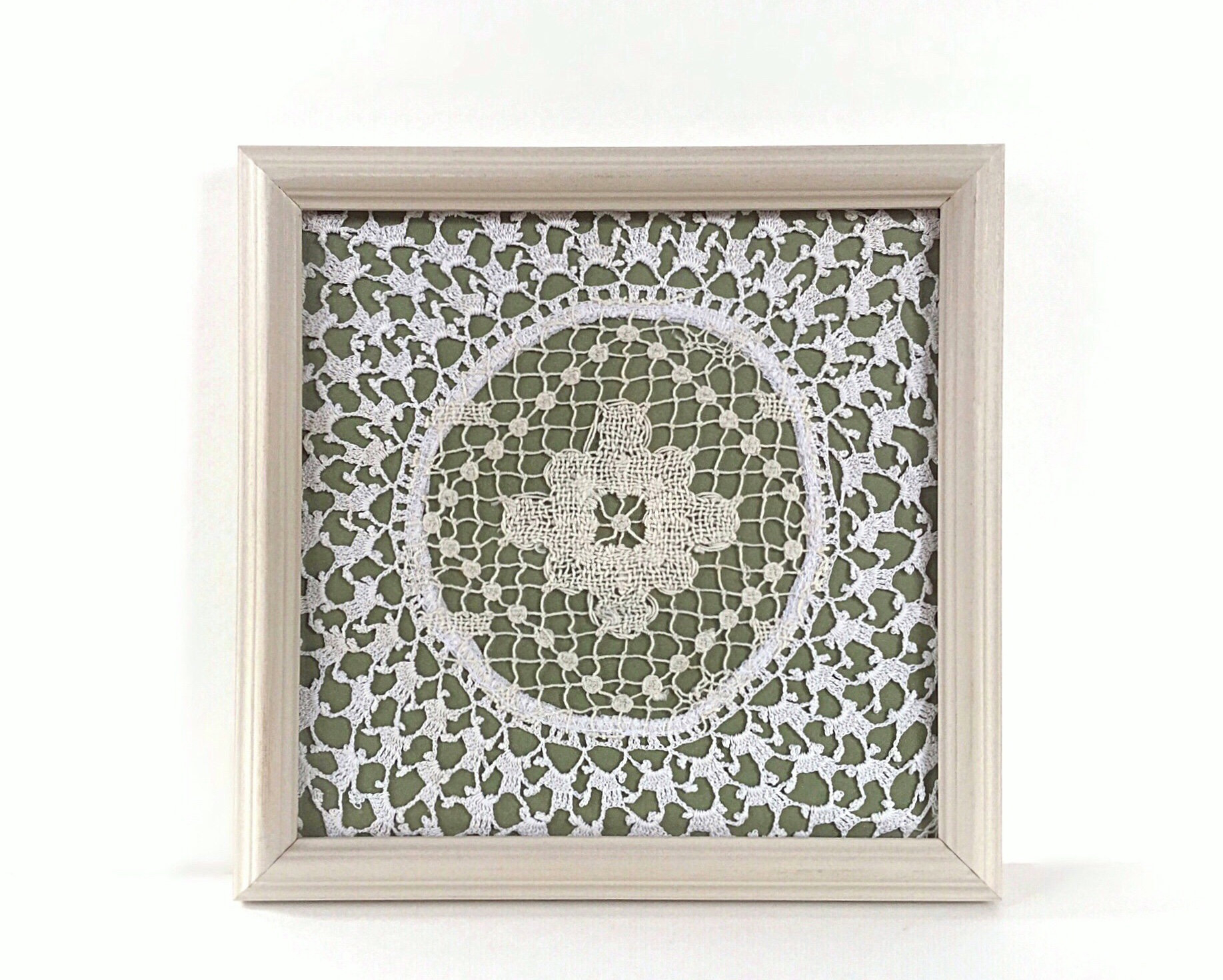 Olive Green Wall Art Doily In A Frame Green Wall Decor (View 9 of 20)