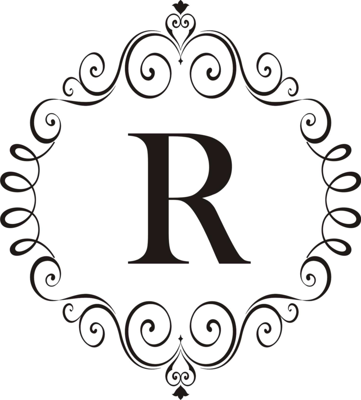 Ornate Scroll Vinyl Monogram – Quote The Walls Throughout Popular Ornate Scroll Wall Decor (View 8 of 20)