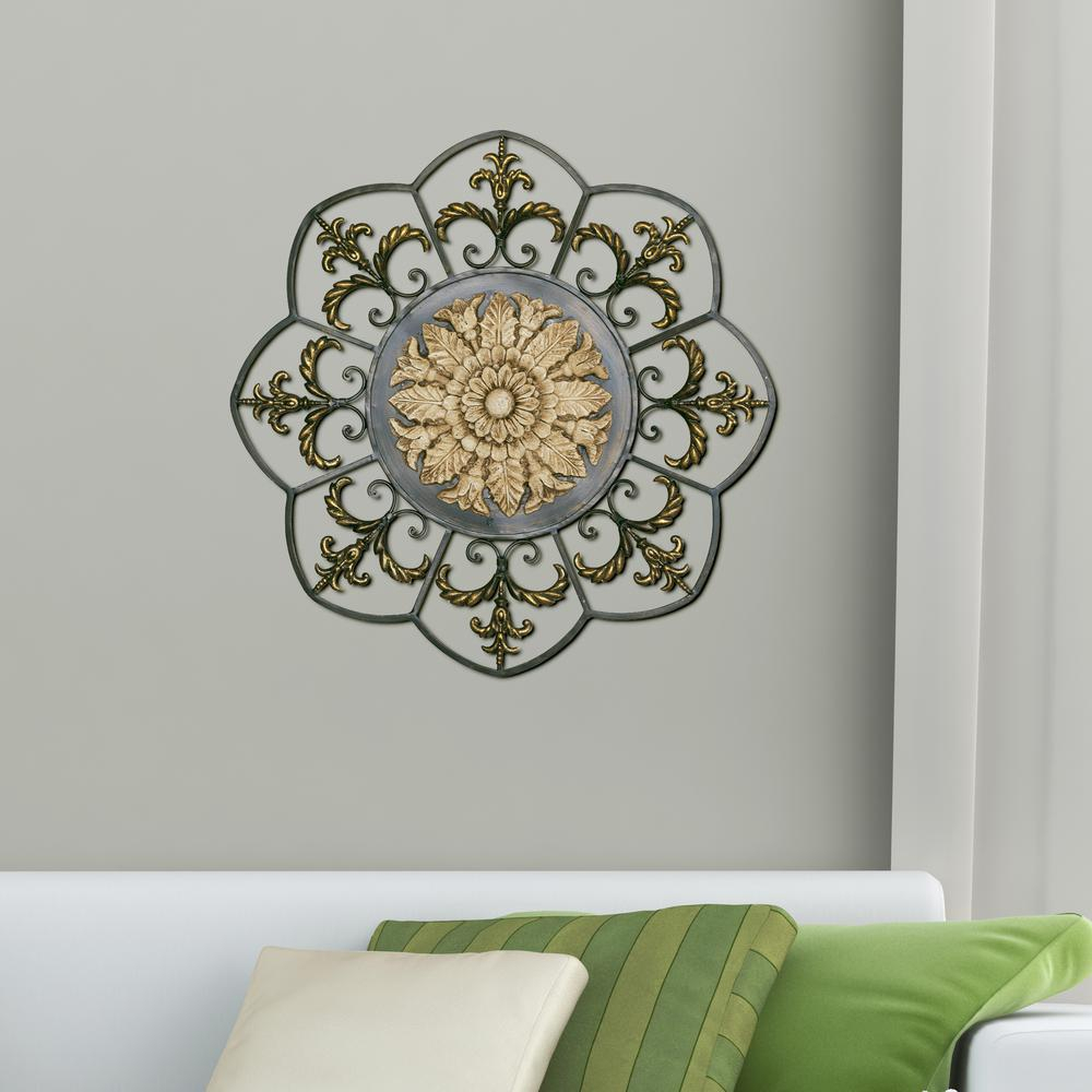 Ornate Scroll Wall Decor Pertaining To Well Liked Antique Gold Medallion Metal Work Wall Decor 2421 – The Home Depot (View 6 of 20)