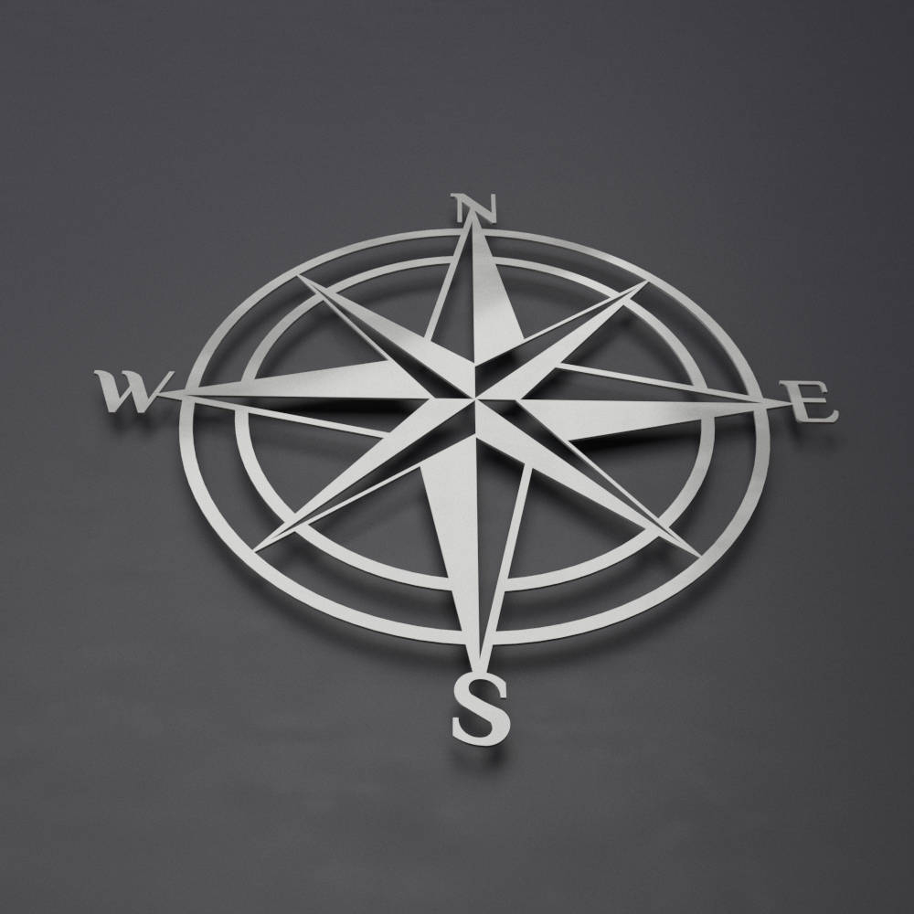 Outdoor Metal Wall Compass in Well-liked 3D Compass Metal Wall Art, Nautical Rose Compass, Large Metal Wall