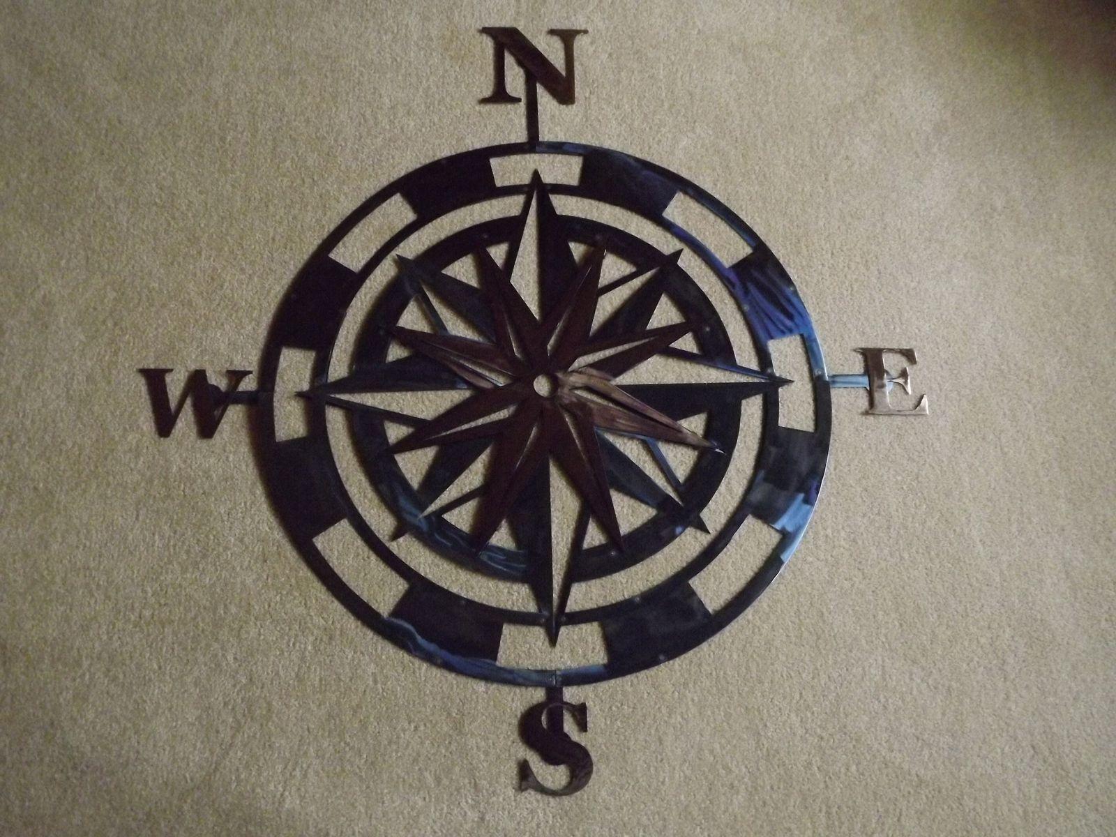 Outdoor Metal Wall Compass Regarding Recent Handmade 36 Inch Metal Compass Rose Wall Artsuperior Iron Artz (Gallery 14 of 20)