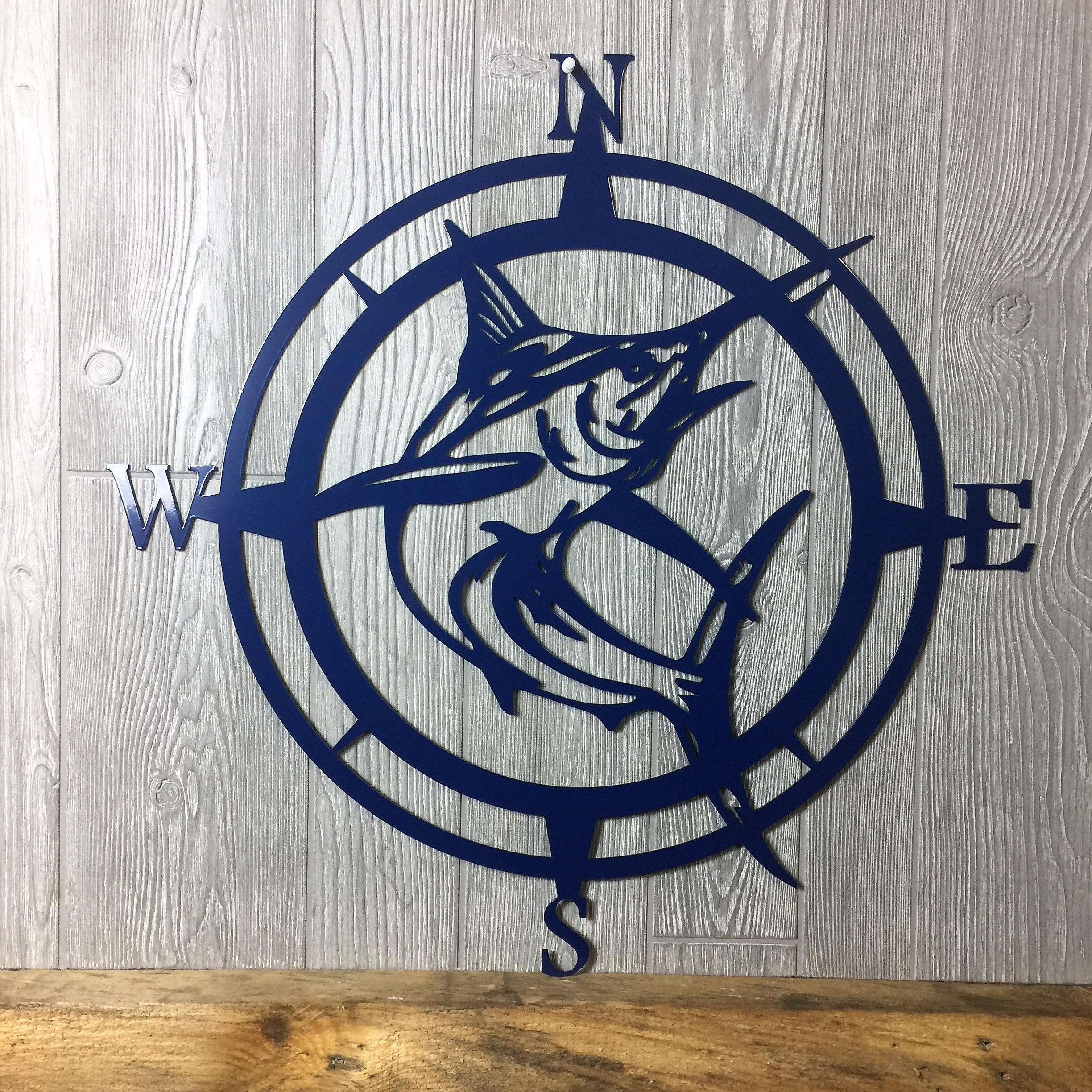 Outdoor Metal Wall Compass With Most Current Metal Marlin Compass,wall Art, Nautical Metal Wall Art, Nautical Rose (View 14 of 20)