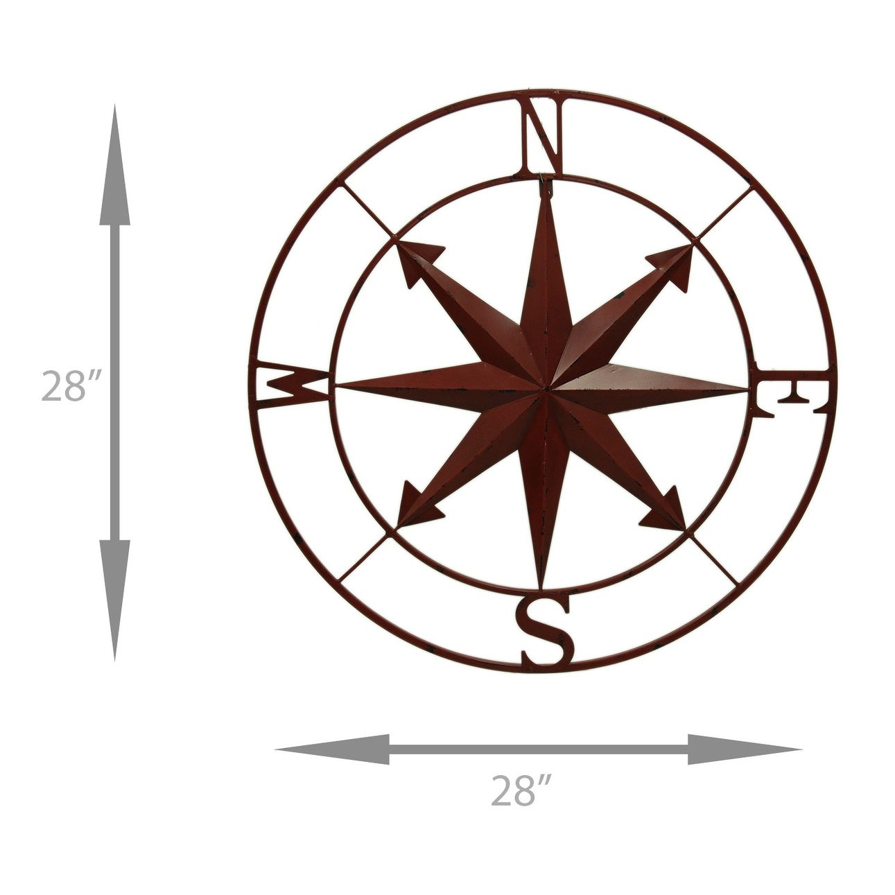 Outdoor Metal Wall Compass Within Popular Shop Distressed Metal Indoor/outdoor Compass Rose Wall Hanging  (View 16 of 20)