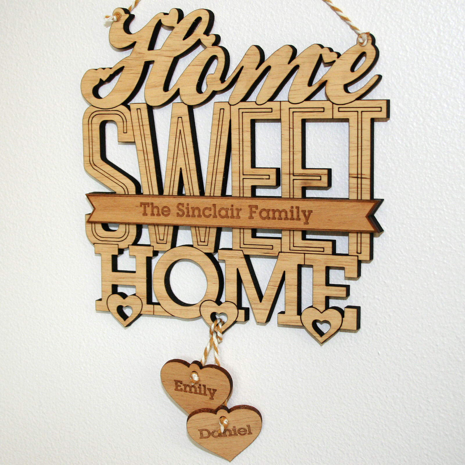 Personalised 'home Sweet Home' House Warming Gift Plaque, New Home In Most Recent Laser Engraved Home Sweet Home Wall Decor (Gallery 7 of 20)