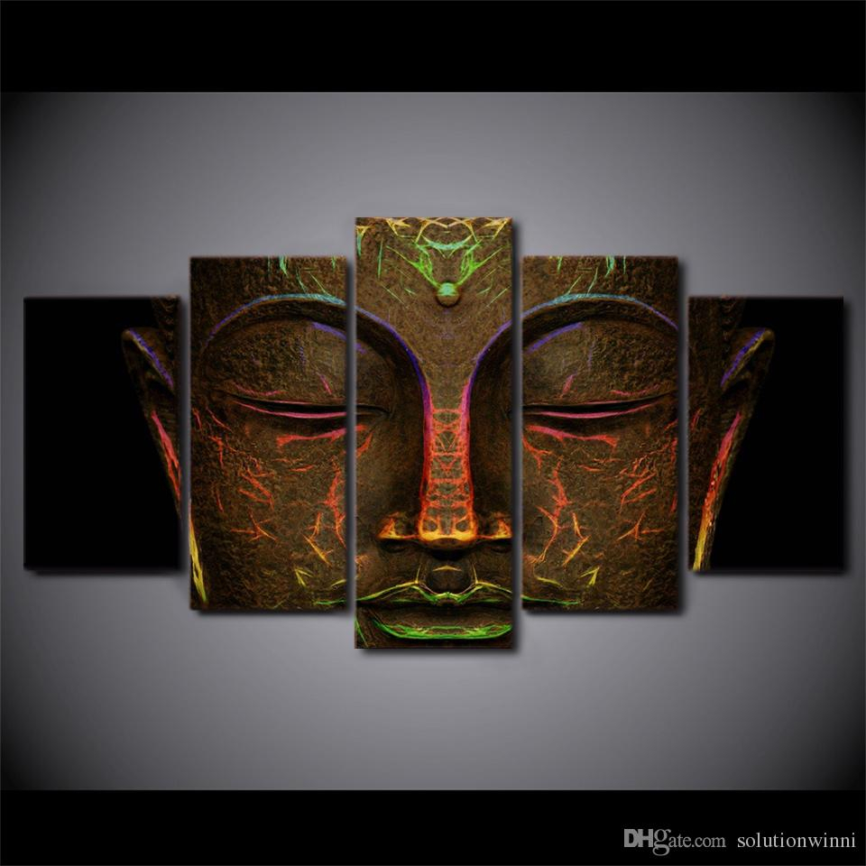 Popular 2 Piece Heart Shaped Fan Wall Decor Sets Inside 2019 Canvas Pictures Hd Prints Wall Art Metal Buddha Face Paintings (View 14 of 20)