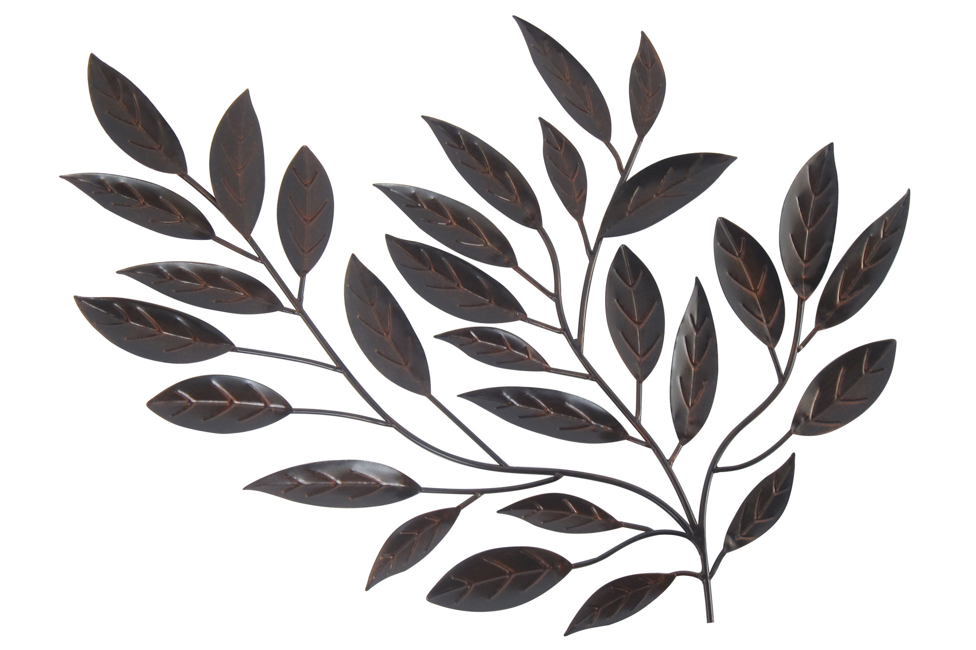 Popular Leaves Metal Sculpture Wall Decor In Forged Metal Leaves – Floral Metal Wall Art (View 5 of 20)