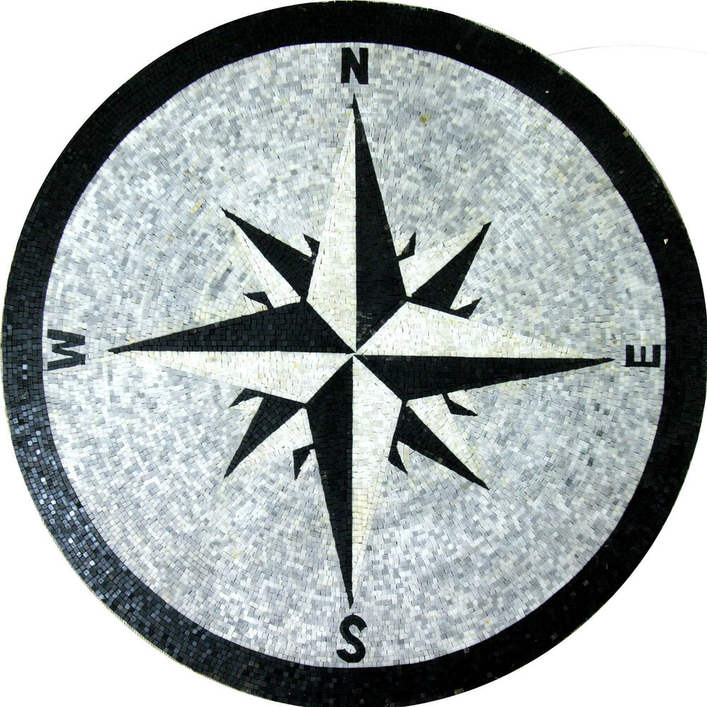 Popular Round Compass Wall Decor Inside Floor Compass Wall Round Medallion Decor Marble Mosaic Md (View 15 of 20)