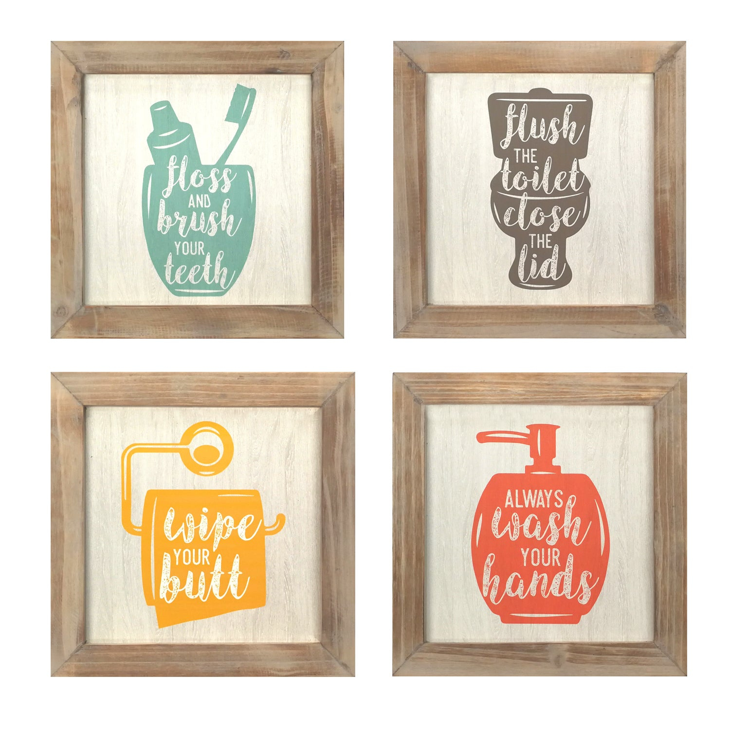 Popular Shop Stratton Home Décor Set Of 4  Floss, Flush, Wipe, Wash Wall Art Within 3 Piece Wash, Brush, Comb Wall Decor Sets (Set Of 3) (View 16 of 20)