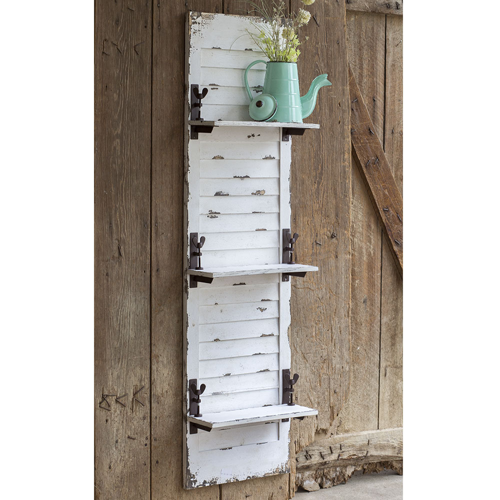 Popular Shutter Window Hanging Wall Decor with regard to Primitive Decor - Window Shutter Hanging Wall Shelf Ginger Brownies