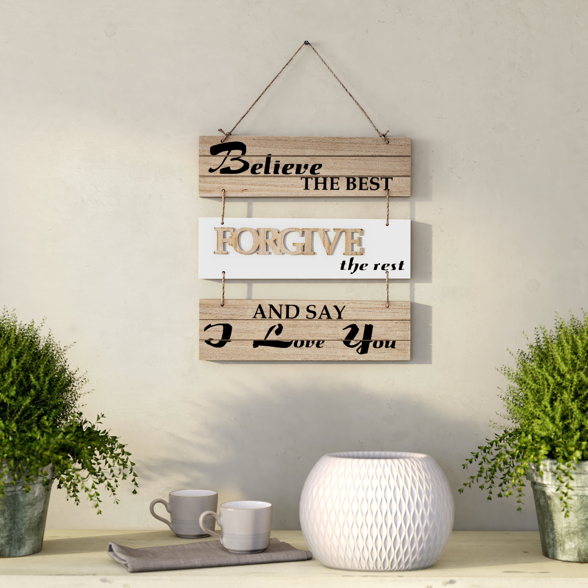 Preferred Believe The Best, Forgive The Rest And Say I Love You Sectioned Wall In 1 Piece Ortie Panel Wall Decor (Gallery 18 of 20)