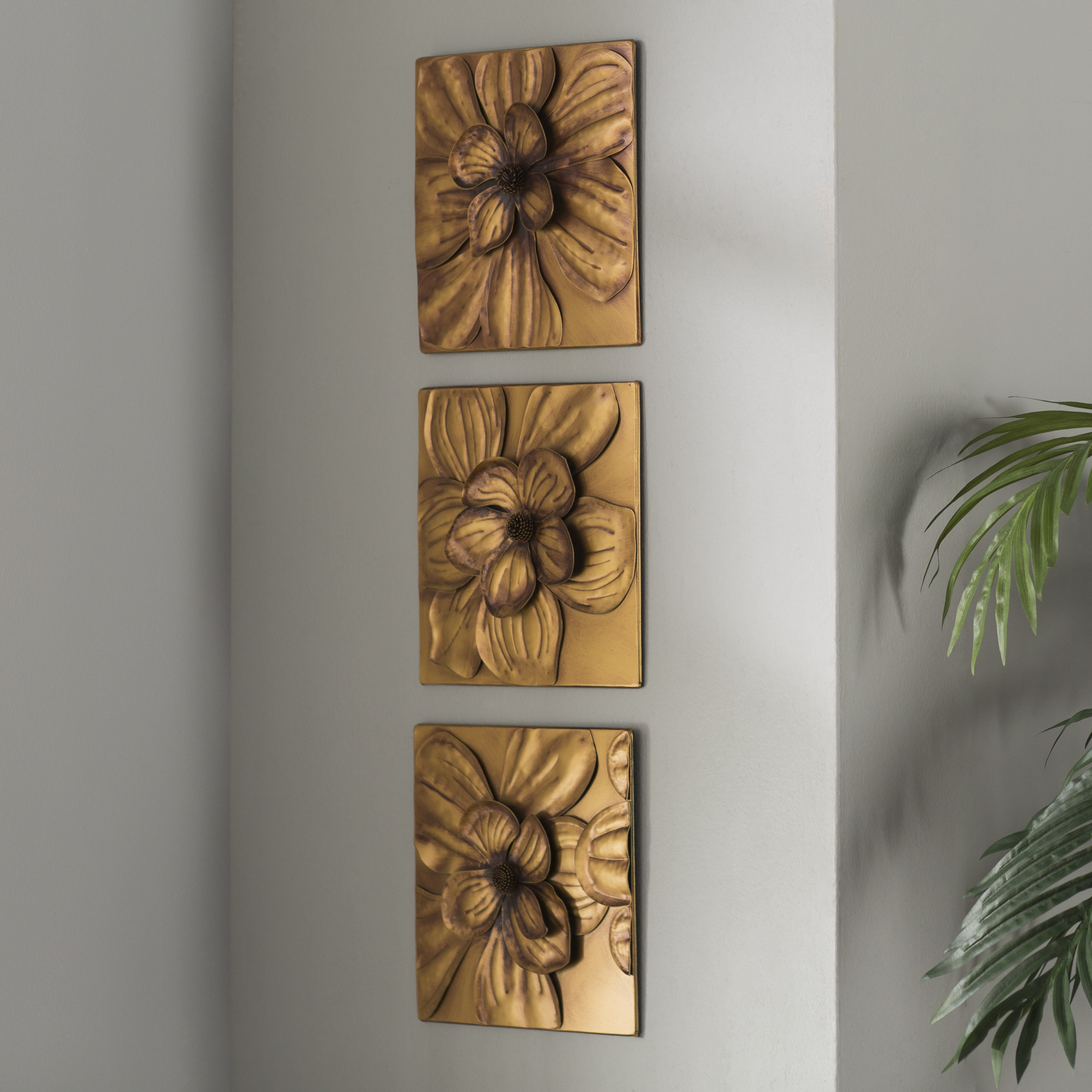 Featured Photo of 3 Piece Magnolia Brown Panel Wall Decor Sets