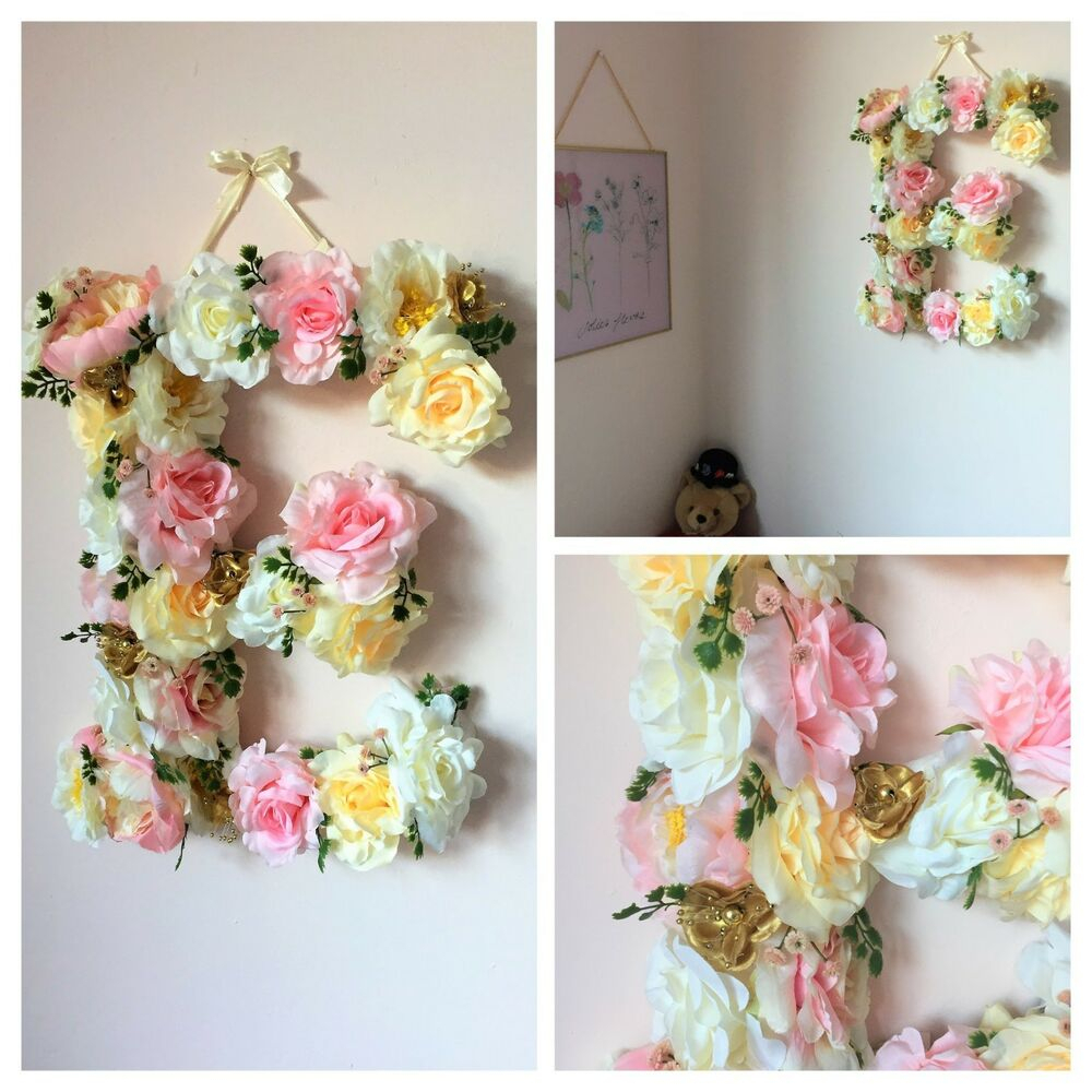 Preferred Flower Letter, Floral Letter, Nursery Decor, Baby Girl Decor, Floral Throughout Flower Wall Decor (View 4 of 20)