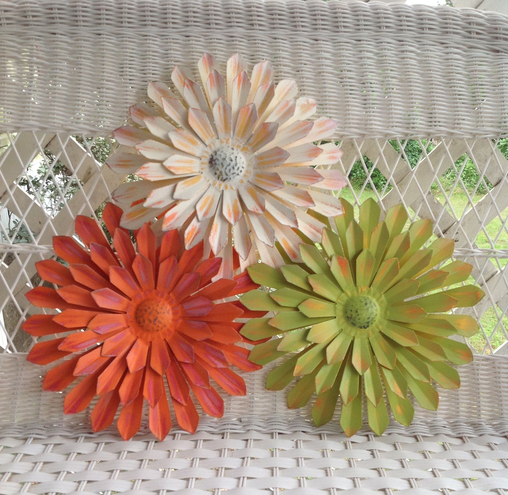 """Preferred Metal Flower Wall Decor (set Of 3) With Regard To 12"""" Metal Flowers – Wall & Fence Decor – Set Of 3 White/orange/green (View 4 of 20)"""