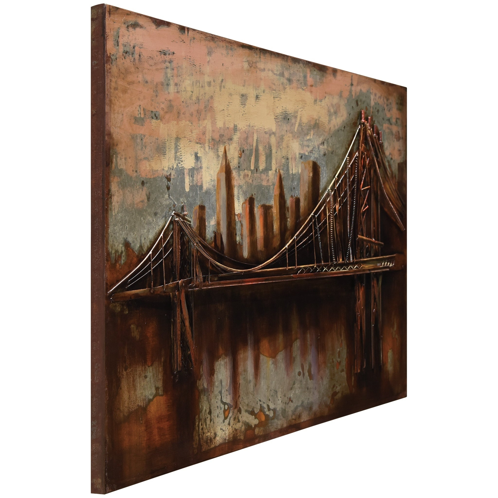 "Preferred Shop ""bridgescape"" Mixed Media Iron Hand Painted Dimensional Wall with regard to ""bridge To The City"" Mixed Media Iron Hand Painted Dimensional Wall Decor"
